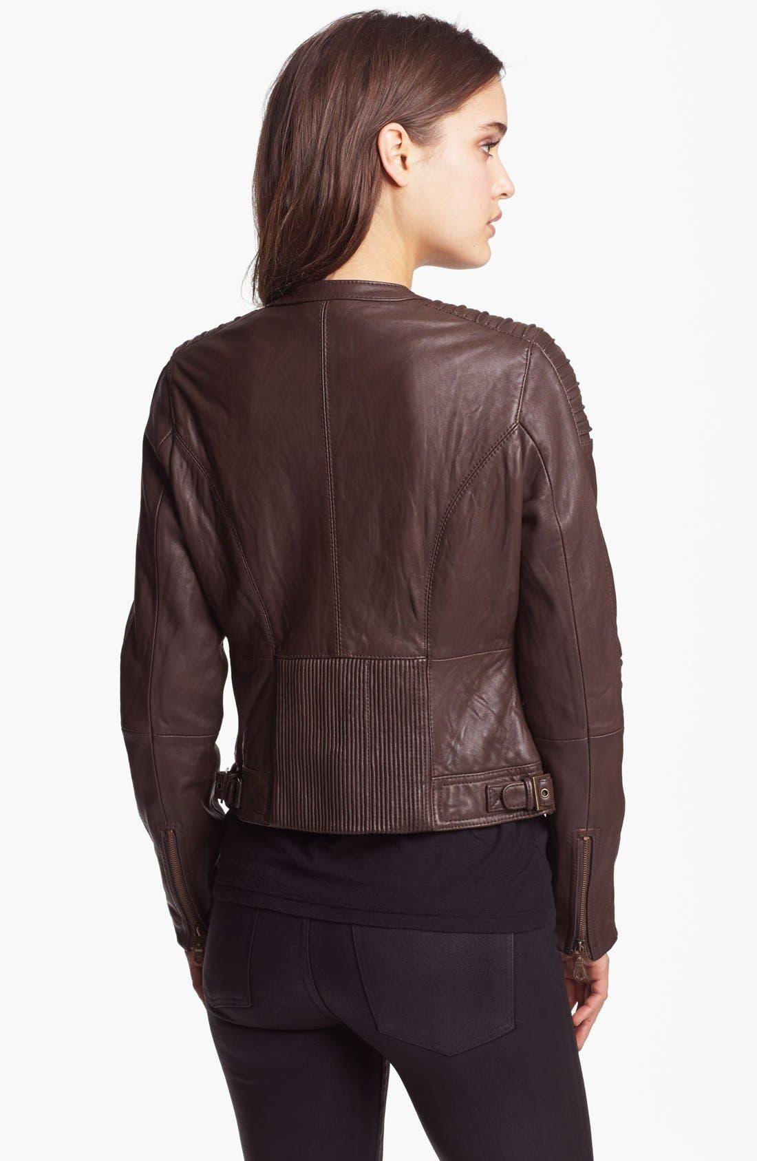 Alternate Image 2  - DKNY Collarless Leather Jacket