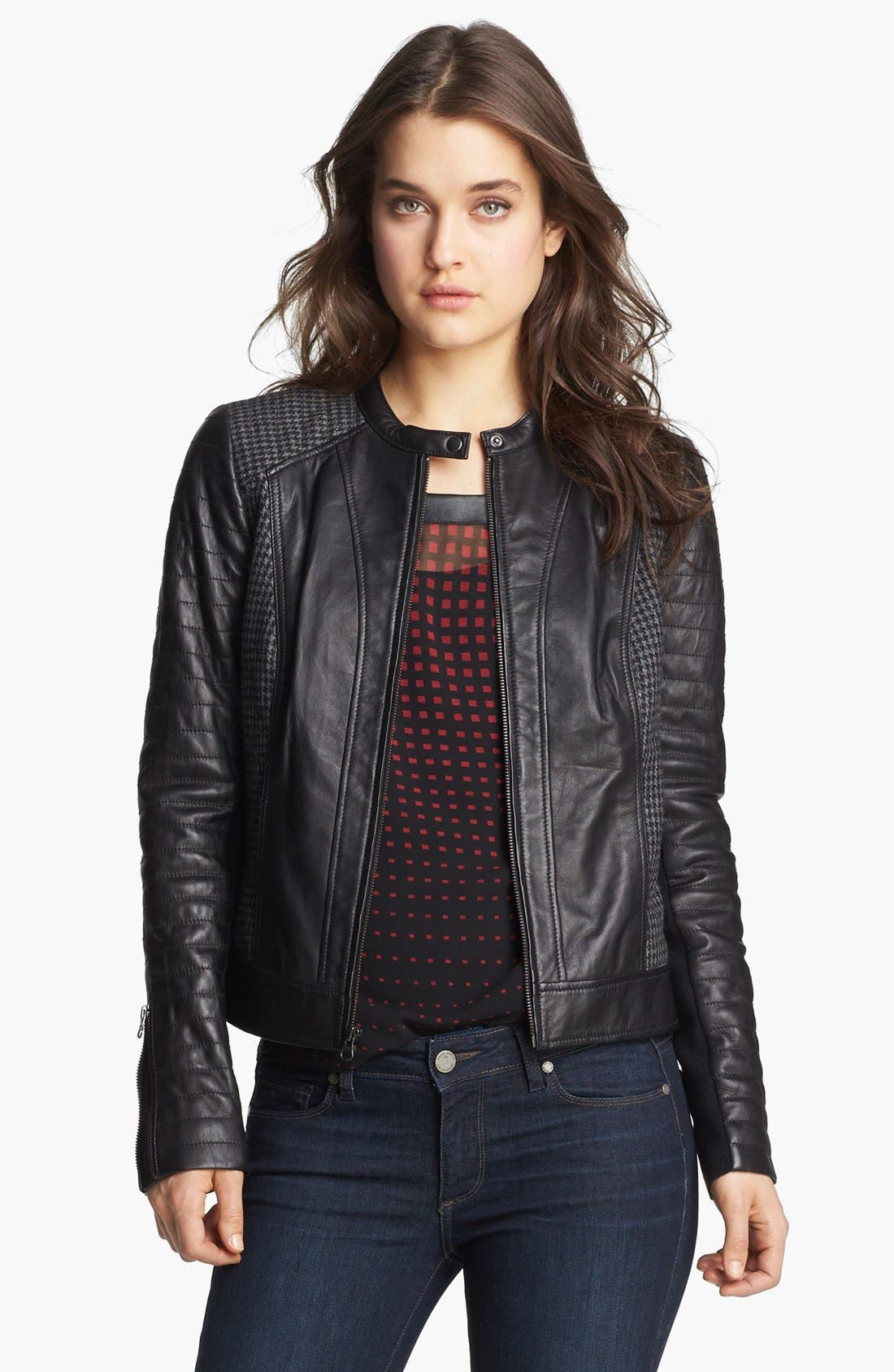 Main Image - Trouvé Houndstooth Panel Quilted Leather Moto Jacket