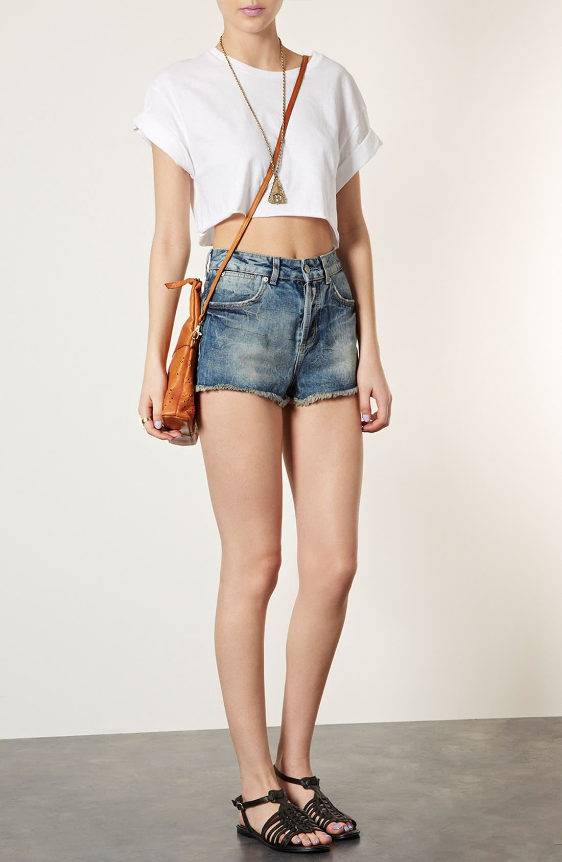 Alternate Image 5  - Topshop Perforated Leather Crossbody Bag