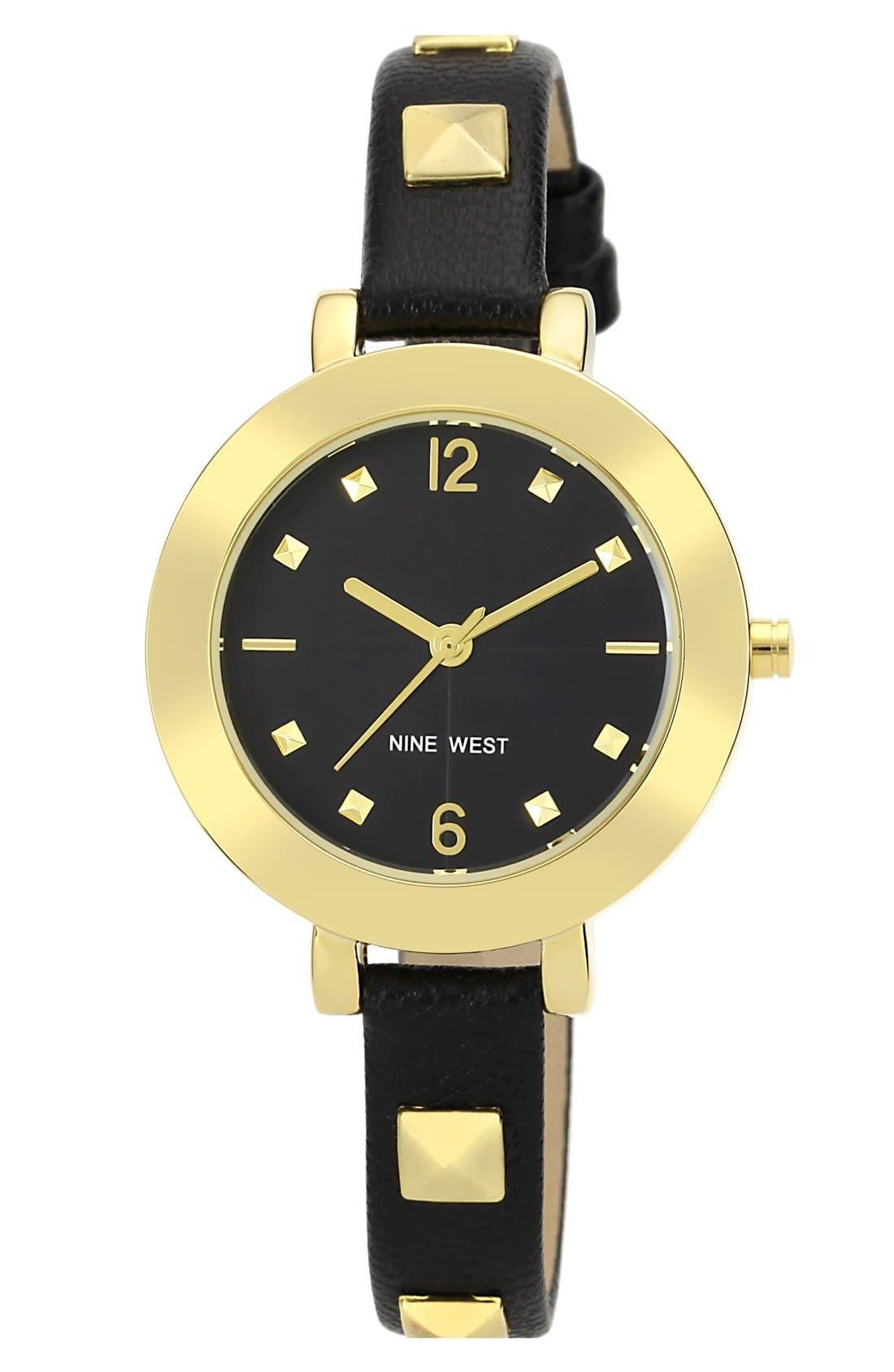 Main Image - Nine West Round Skinny Studded Strap Watch, 35mm