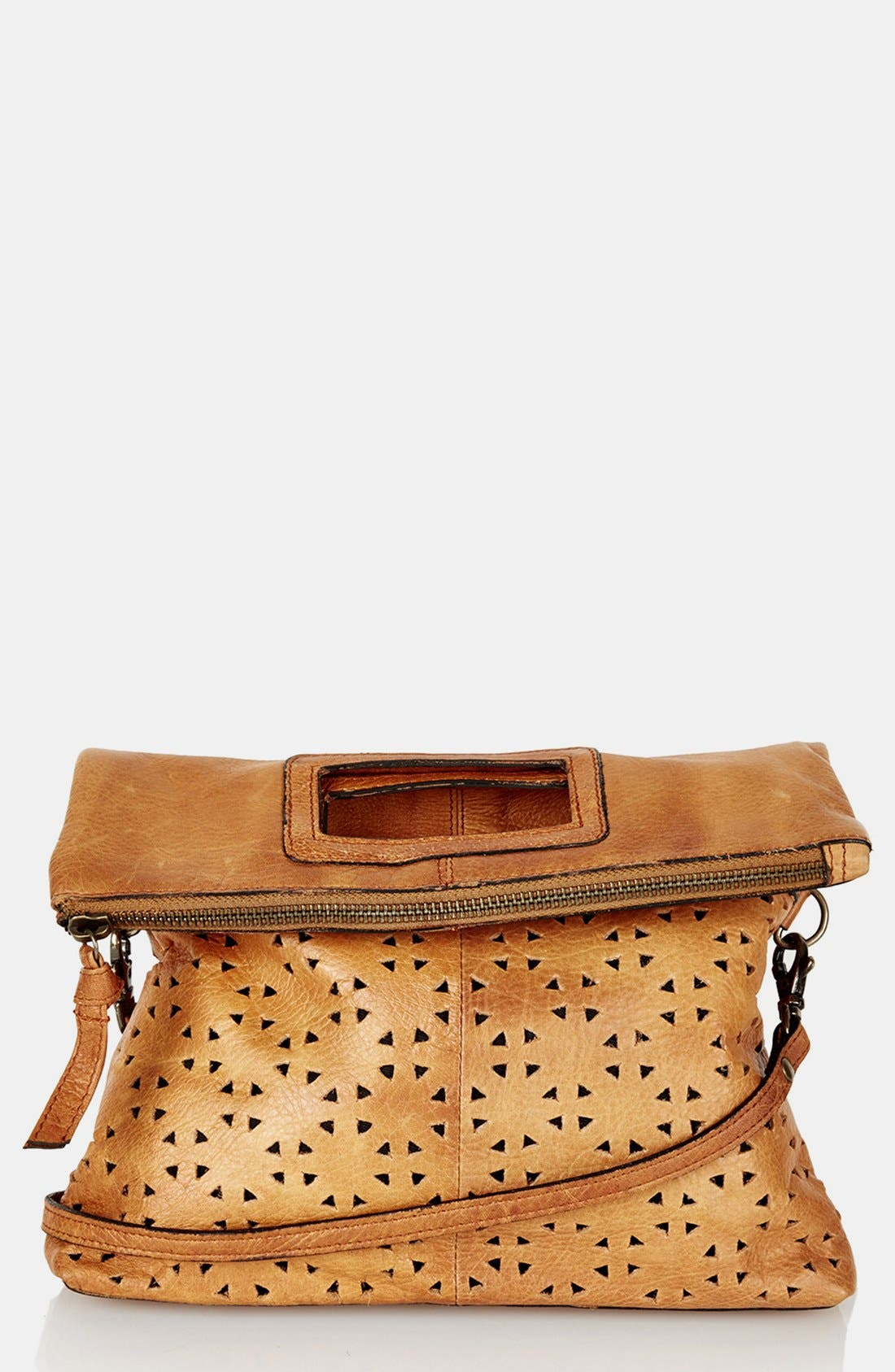 Main Image - Topshop Perforated Leather Crossbody Bag
