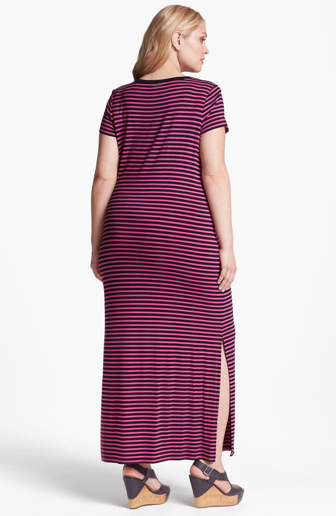 Alternate Image 2  - MICHAEL Michael Kors Stripe Crewneck Maxi Dress (Plus Size)