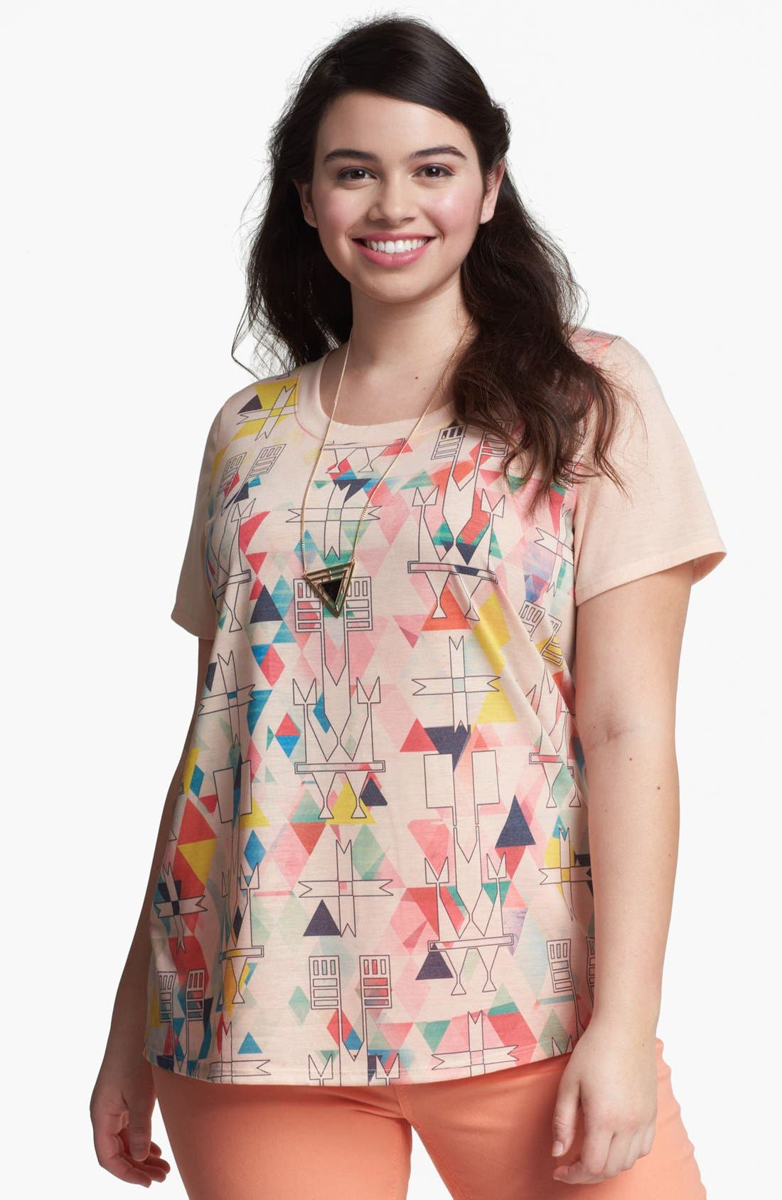Alternate Image 1 Selected - Painted Threads 'Pinwheel' Tee (Plus Size)