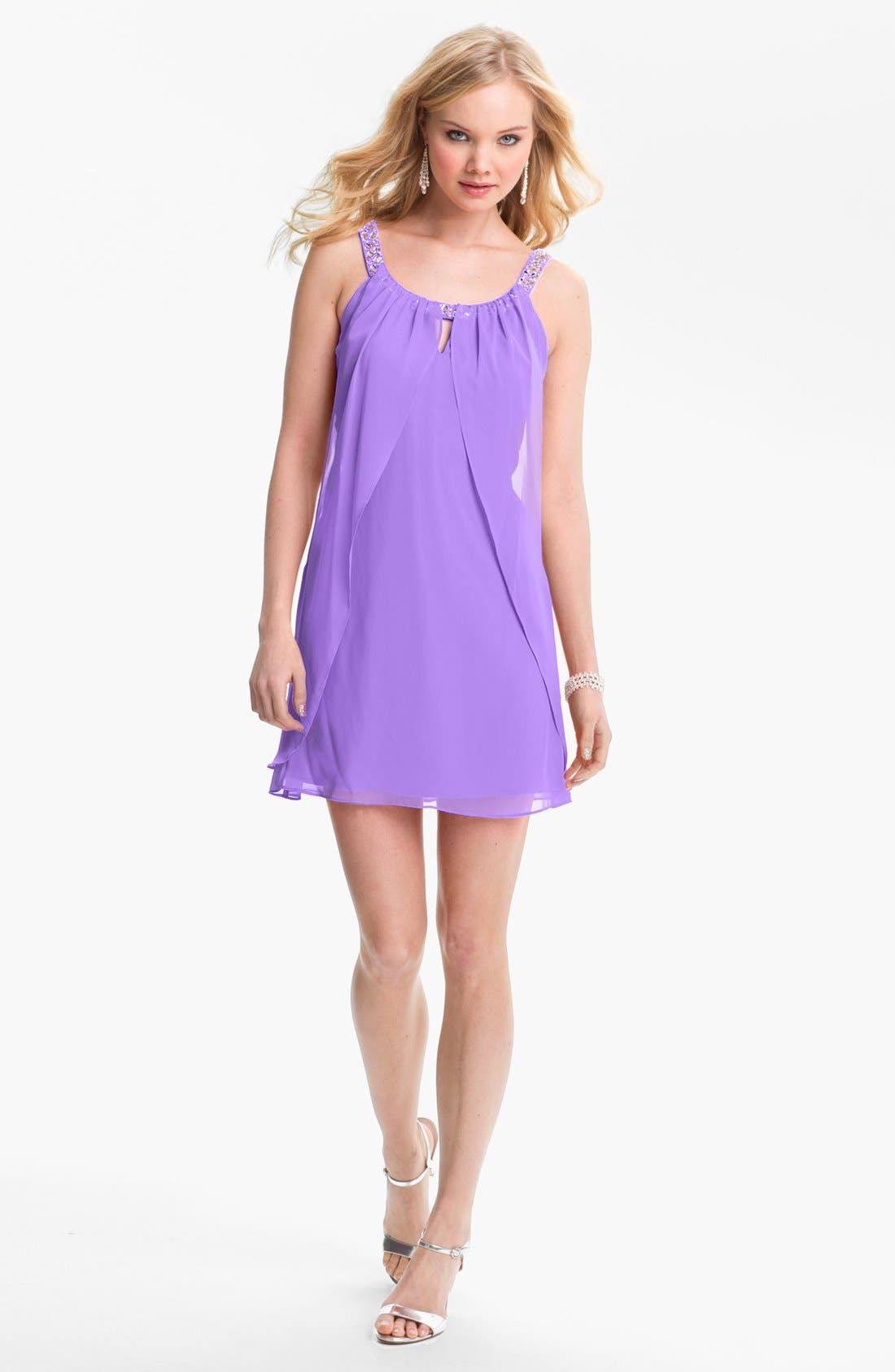 Main Image - Hailey Logan Embellished Strap Flutter Dress (Juniors) (Online Only)