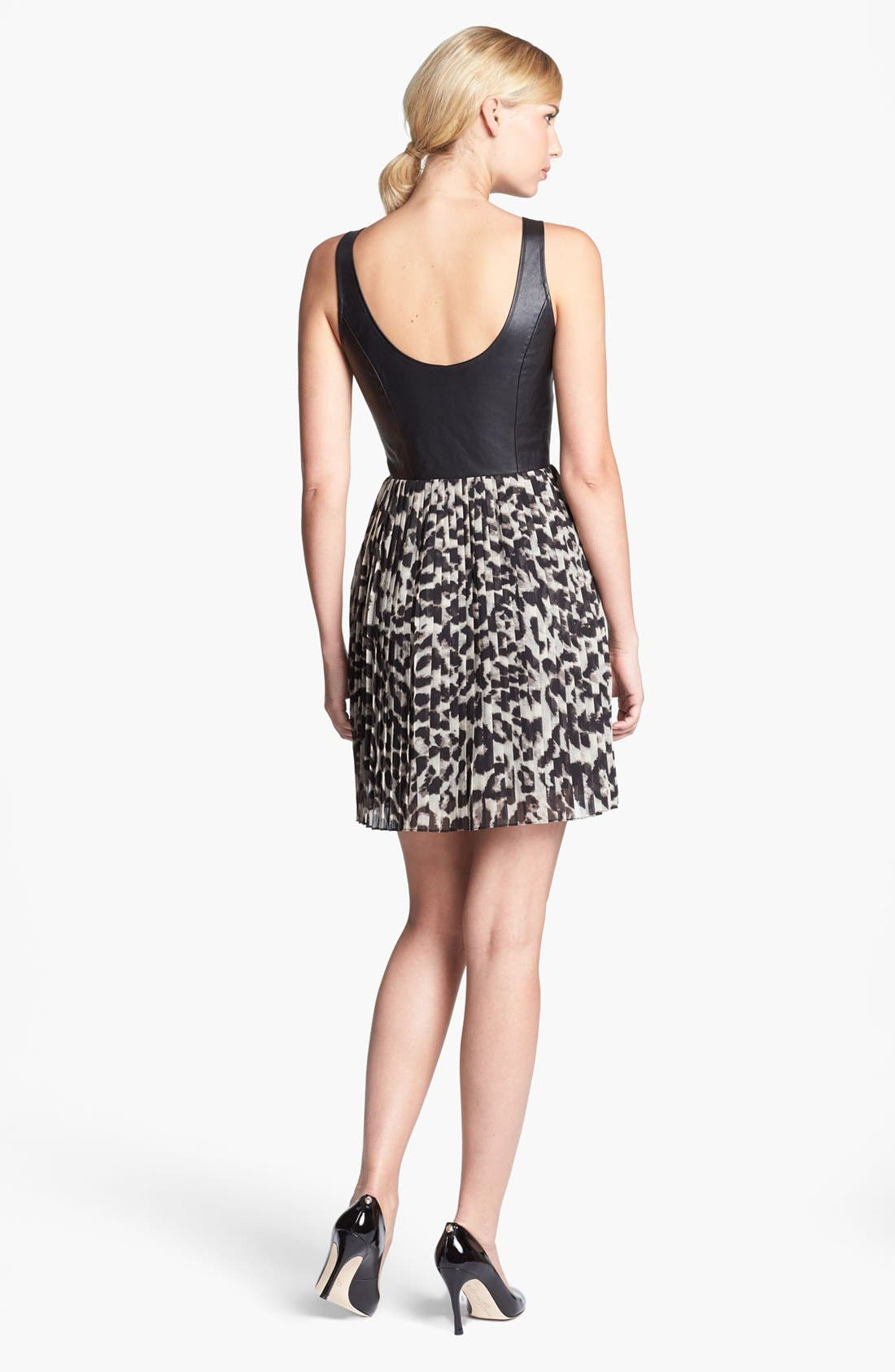 Alternate Image 2  - BB Dakota Faux Leather Bodice & Animal Print Skirt Dress (Online Only)