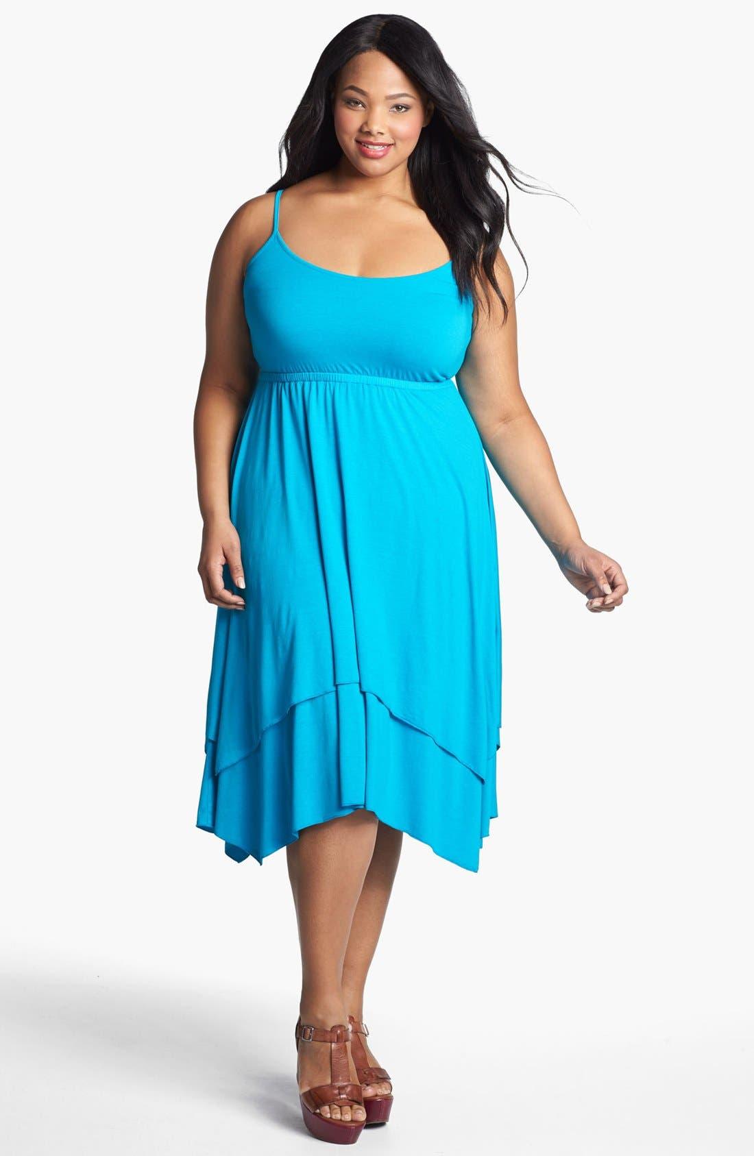 Main Image - Three Dots Layered Skirt Sundress (Plus Size)