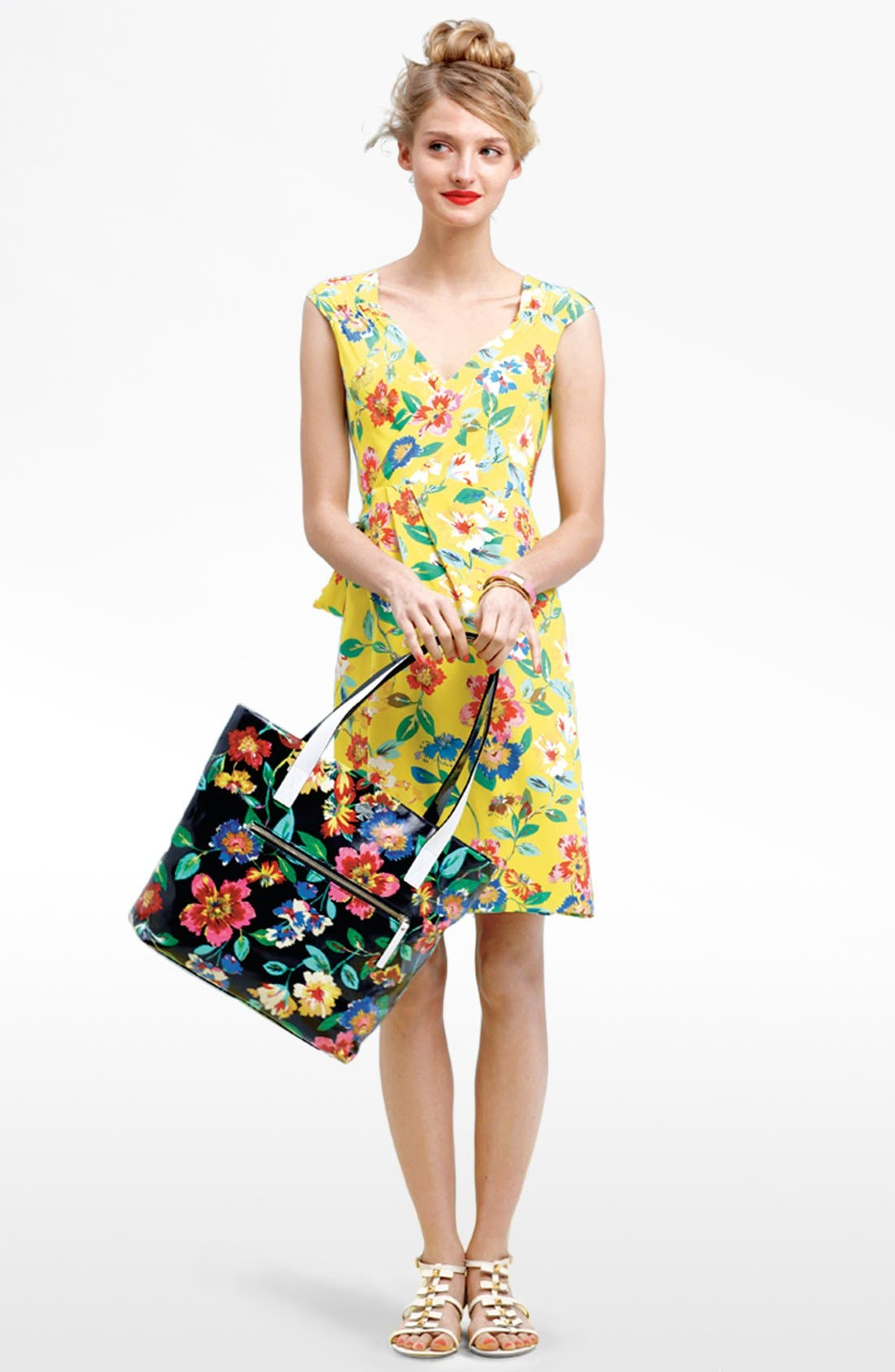 Main Image - kate spade new york 'cathleen' print silk wrap dress
