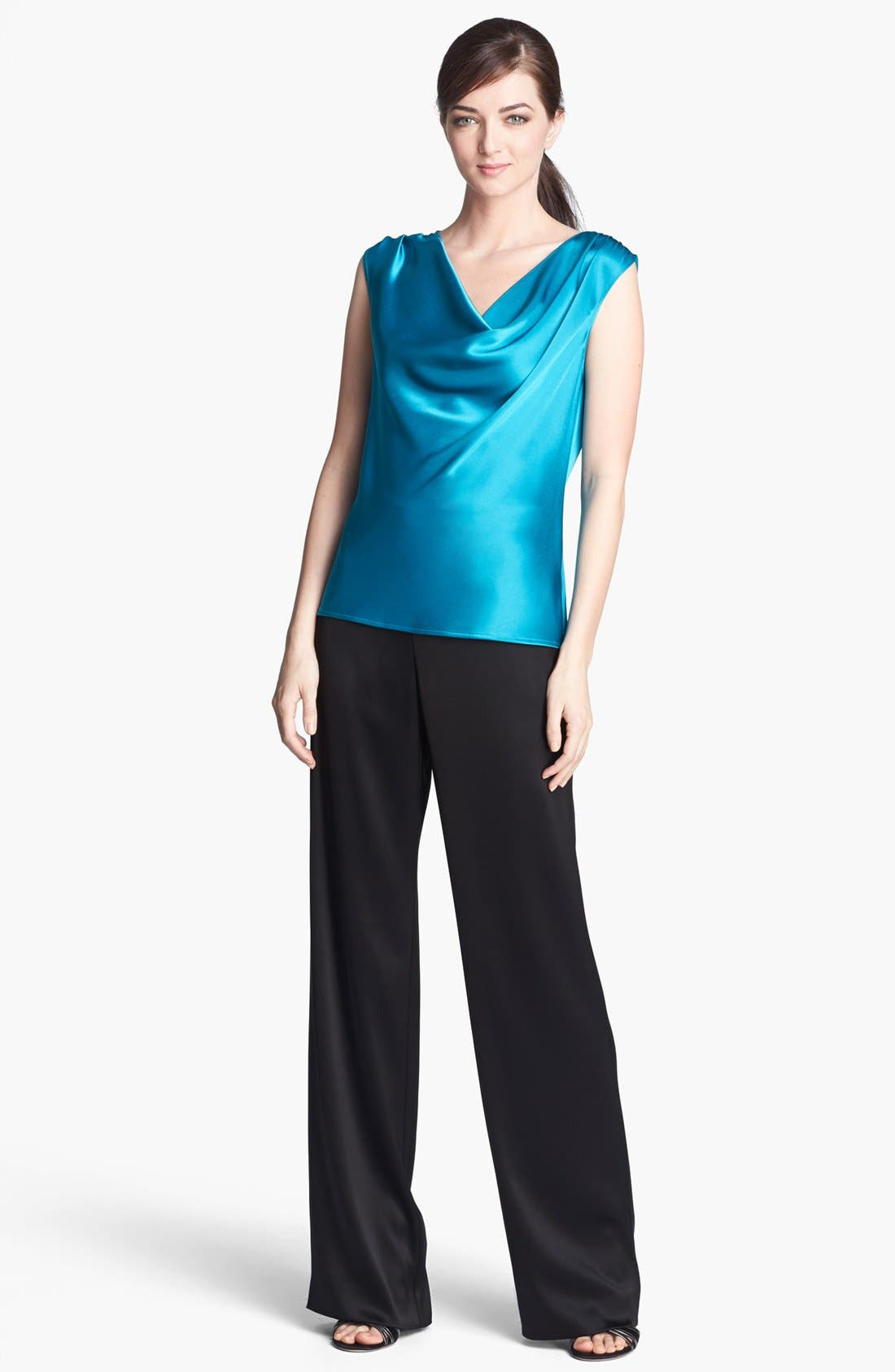 Alternate Image 2  - St. John Collection Cowl Neck Liquid Satin Top
