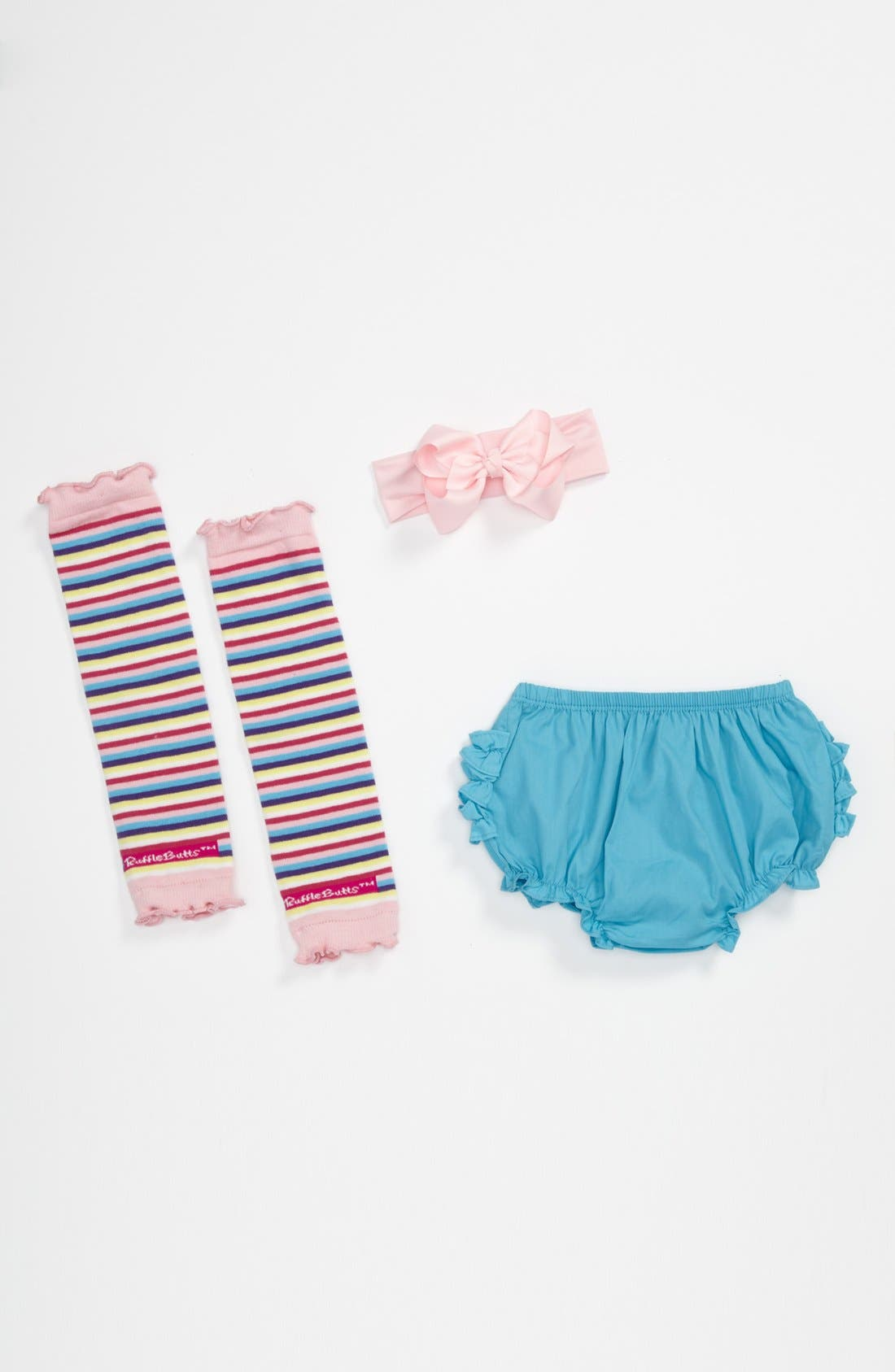 Main Image - RuffleButts 'Teal & Pink' Headband, Bloomers & Leg Warmers (Baby)