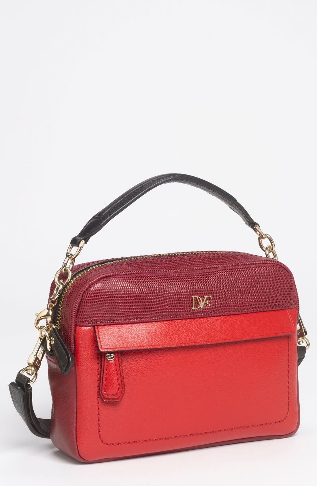Main Image - Diane von Furstenberg 'Milo - Mini' Lizard Embossed Crossbody Bag (Online Only)