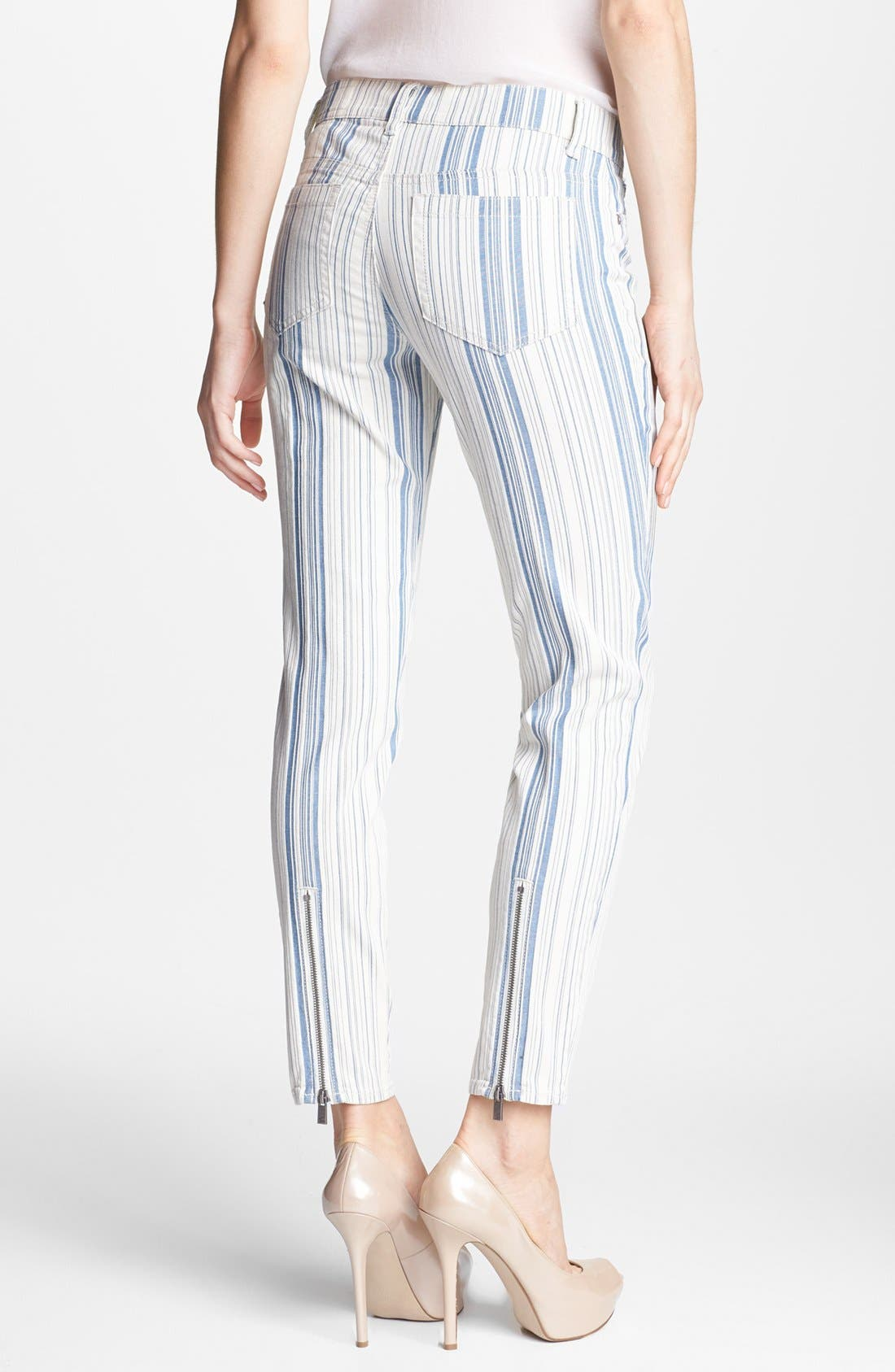 Alternate Image 2  - Two by Vince Camuto Variegated Stripe Zip Leg Jeans