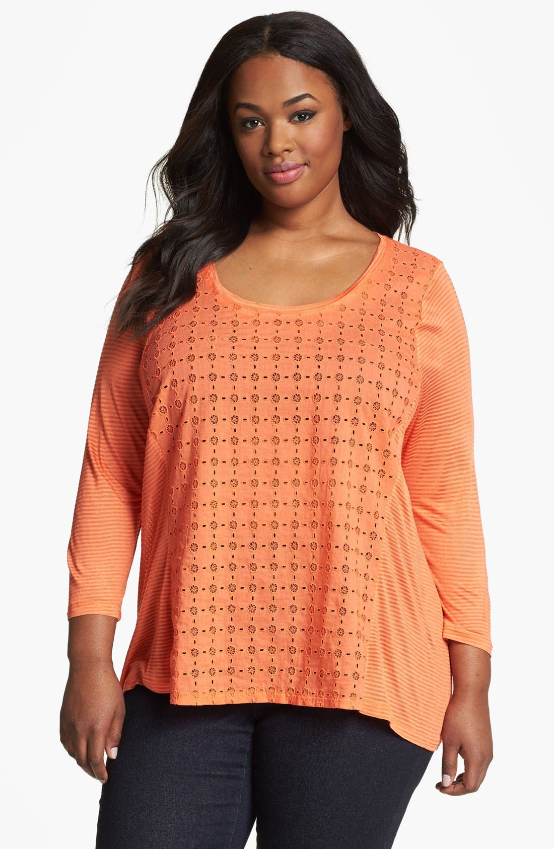 Alternate Image 1 Selected - Lucky Brand 'Ellis' Eyelet Front Top (Plus Size)
