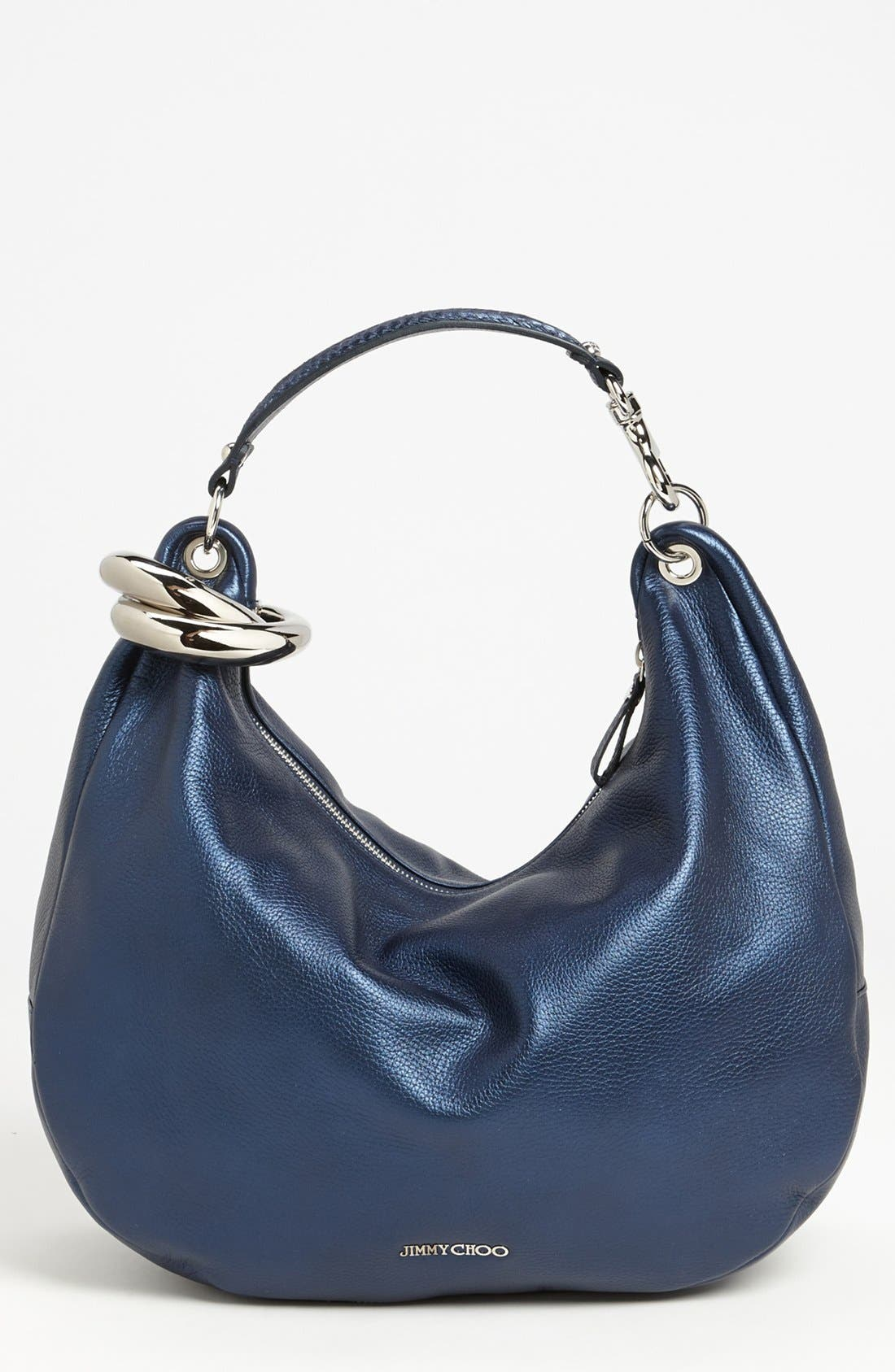 Main Image - Jimmy Choo 'Solar - Large' Pearlized Metallic Leather Hobo