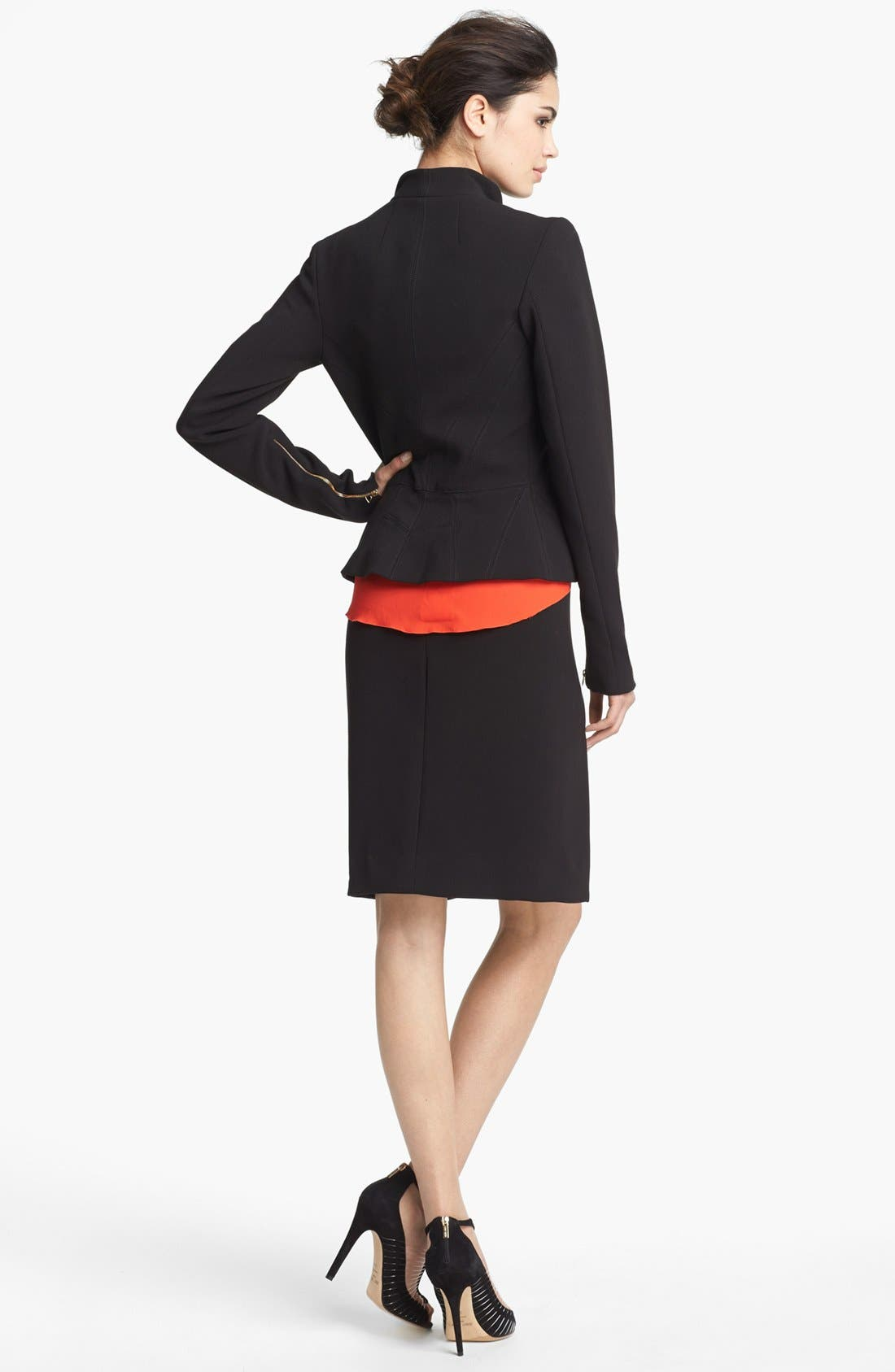 Alternate Image 4  - L'AGENCE Zip Sleeve Ponte Knit Jacket