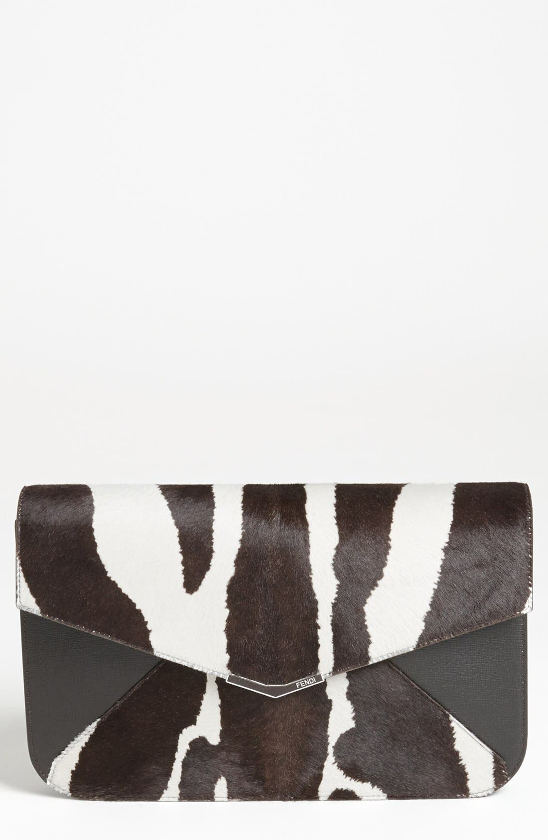 Main Image - Fendi '2Jours - Large' Calf Hair & Leather Clutch
