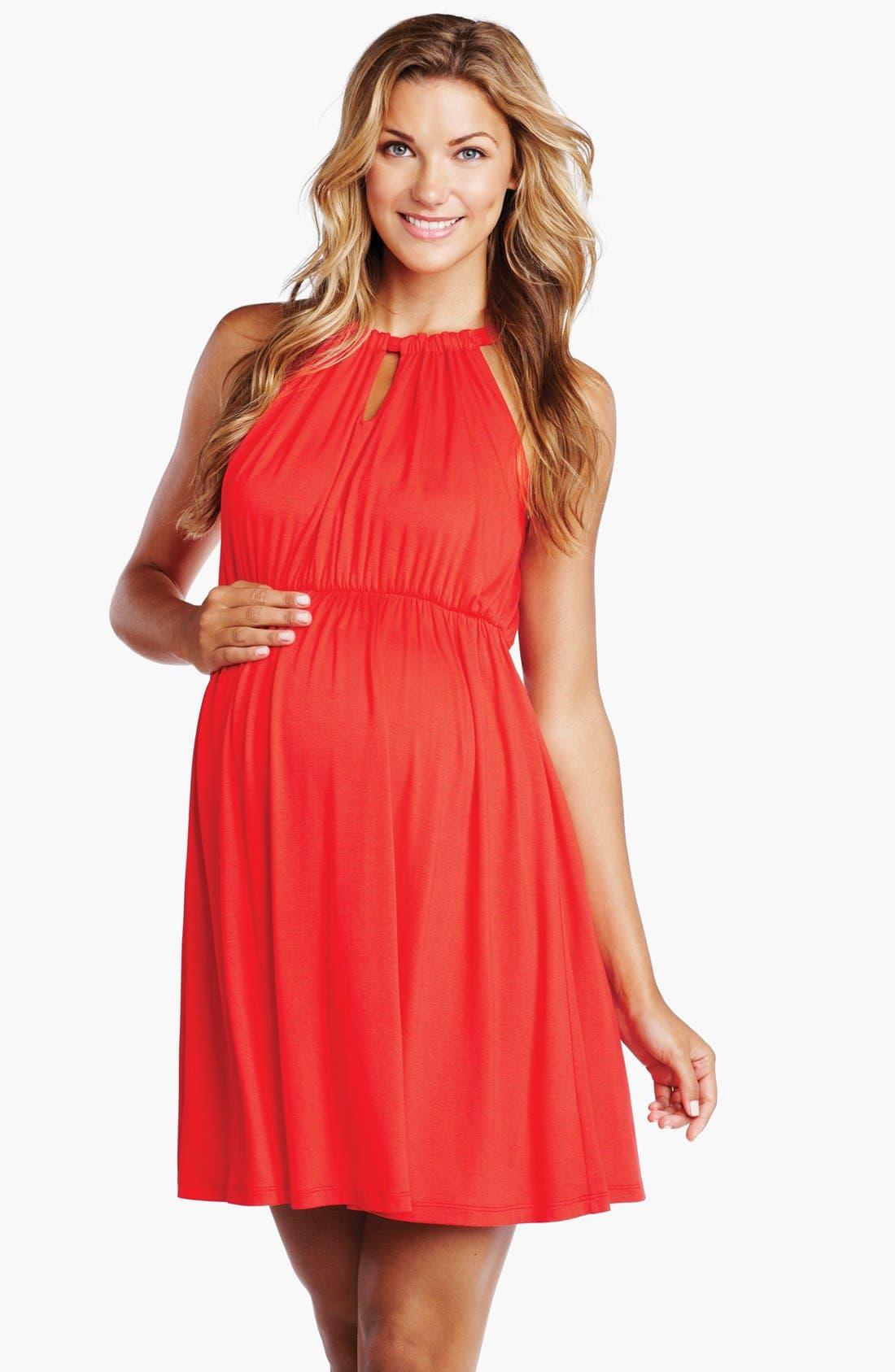 Main Image - Maternal America Halter Maternity Dress