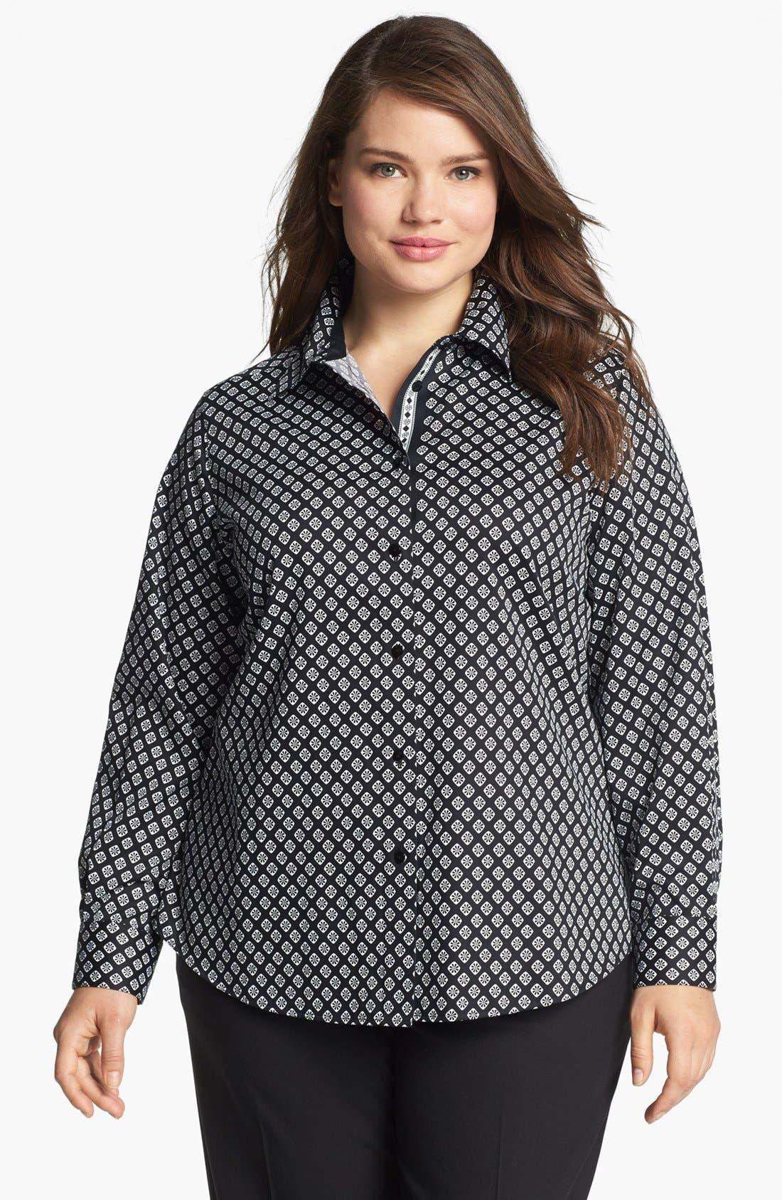 Main Image - Foxcroft Foulard Print Shirt (Plus Size)