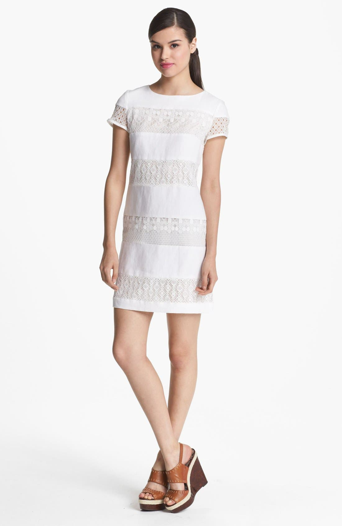 Main Image - Donna Morgan Stripe Linen & Lace Shift Dress (Petite)