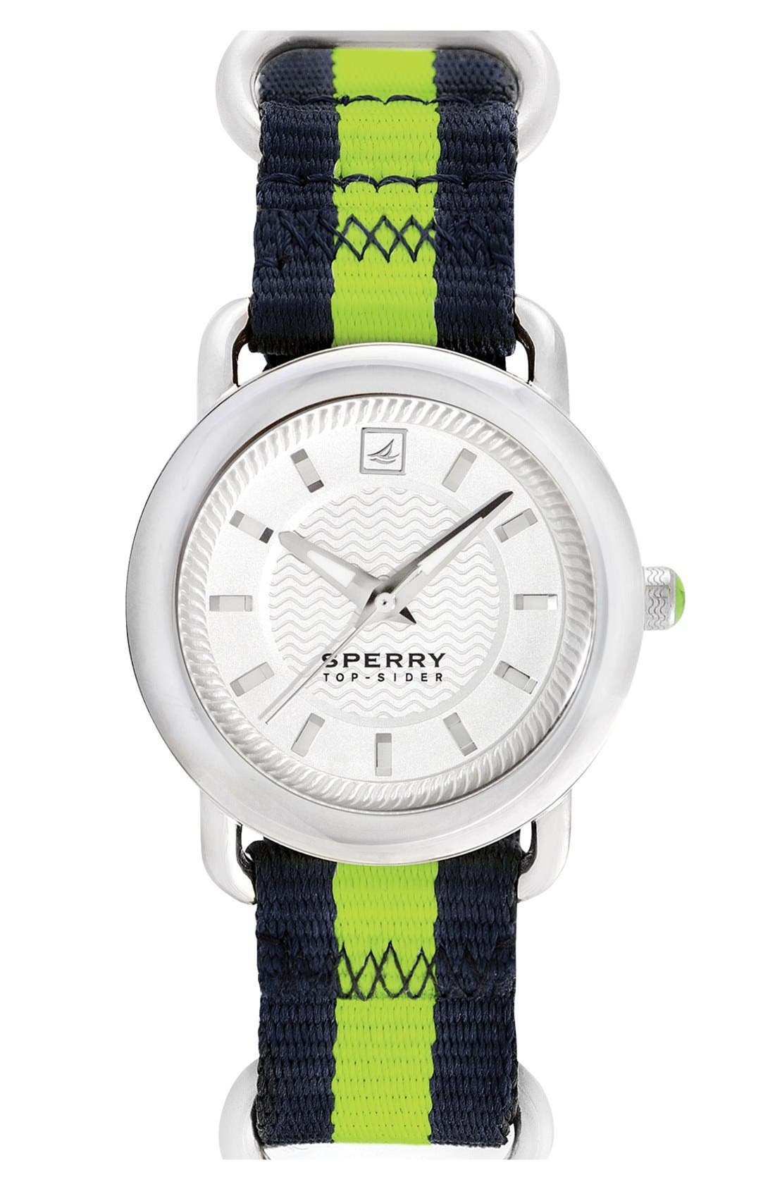 Alternate Image 1 Selected - Sperry 'Hayden' Round Nylon Strap Watch, 36mm