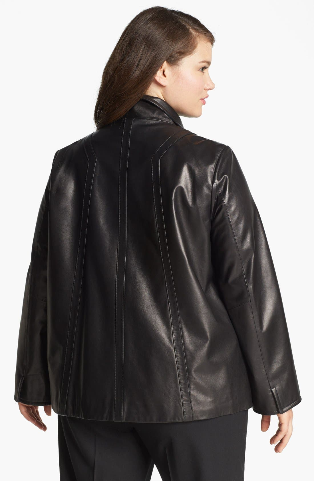 Alternate Image 2  - Ellen Tracy A-Line Leather Jacket (Plus Size)