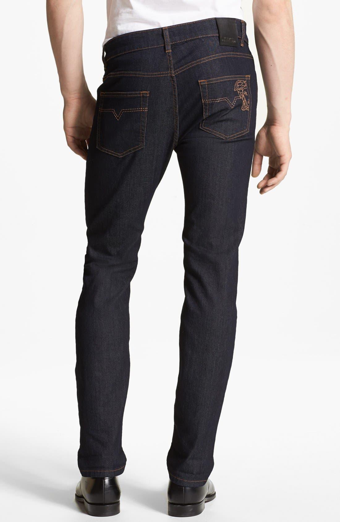 Alternate Image 2  - Versace 'Medusa' Slim Fit Jeans (Dark Navy)