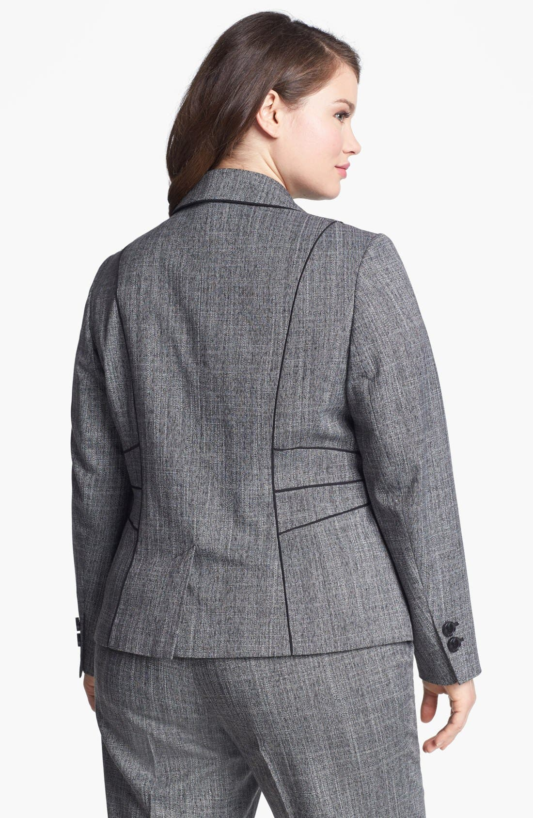 Alternate Image 2  - Sejour 'Gibson' Piped Suit Jacket (Plus Size)