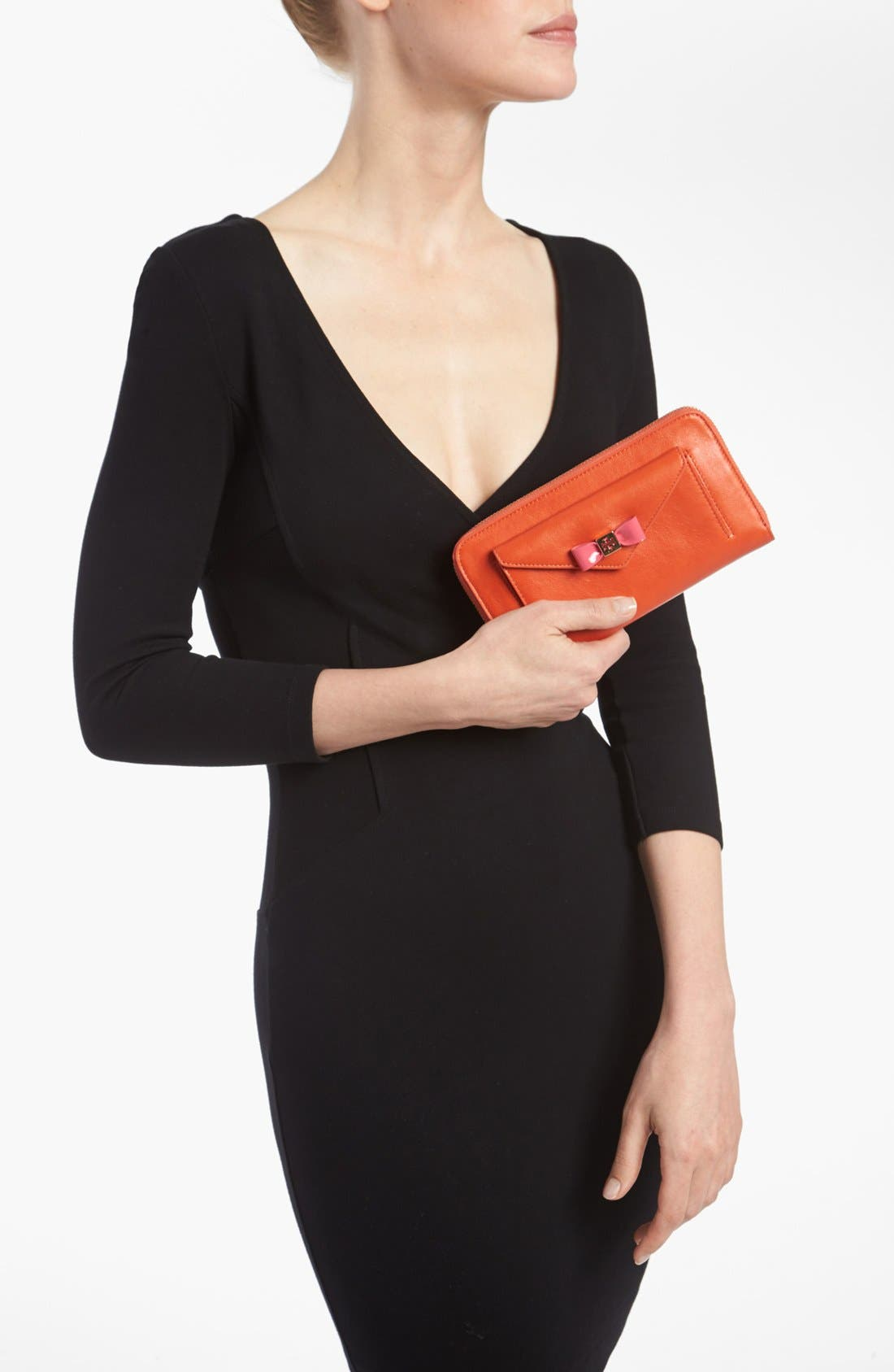 Alternate Image 4  - Tory Burch 'Bow' Leather Zip Wallet