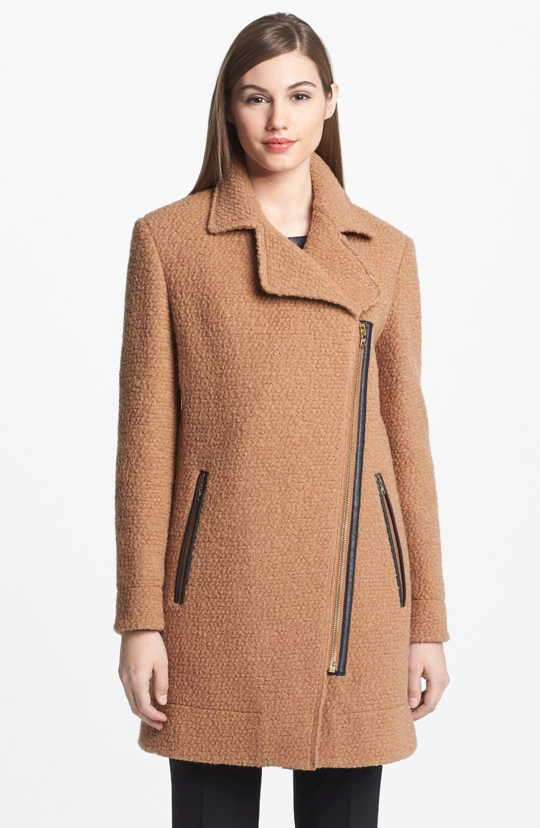 Alternate Image 2  - Calvin Klein Asymmetrical Bouclé Jacket