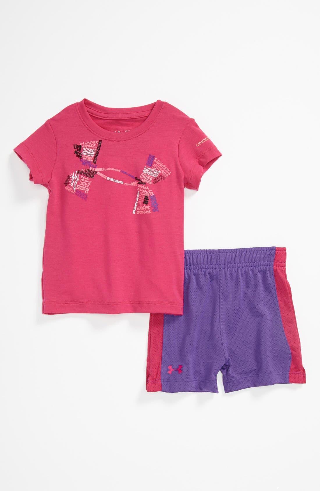 Main Image - Under Armour T-Shirt & Shorts (Baby Girls)