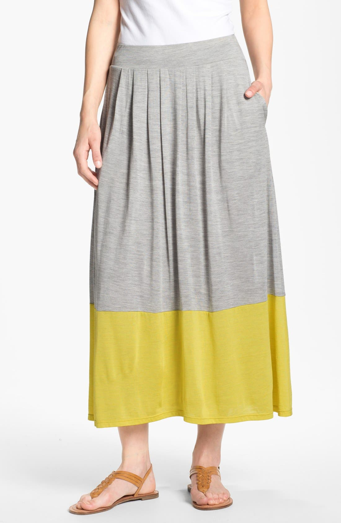 Main Image - Eileen Fisher Pleated Colorblock Midi Skirt (Plus Size)