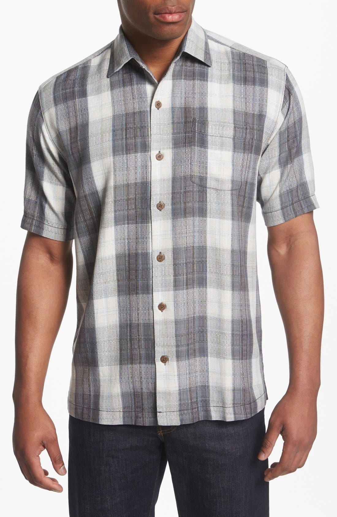 Main Image - Tommy Bahama 'Seaside Plaid' Silk Campshirt
