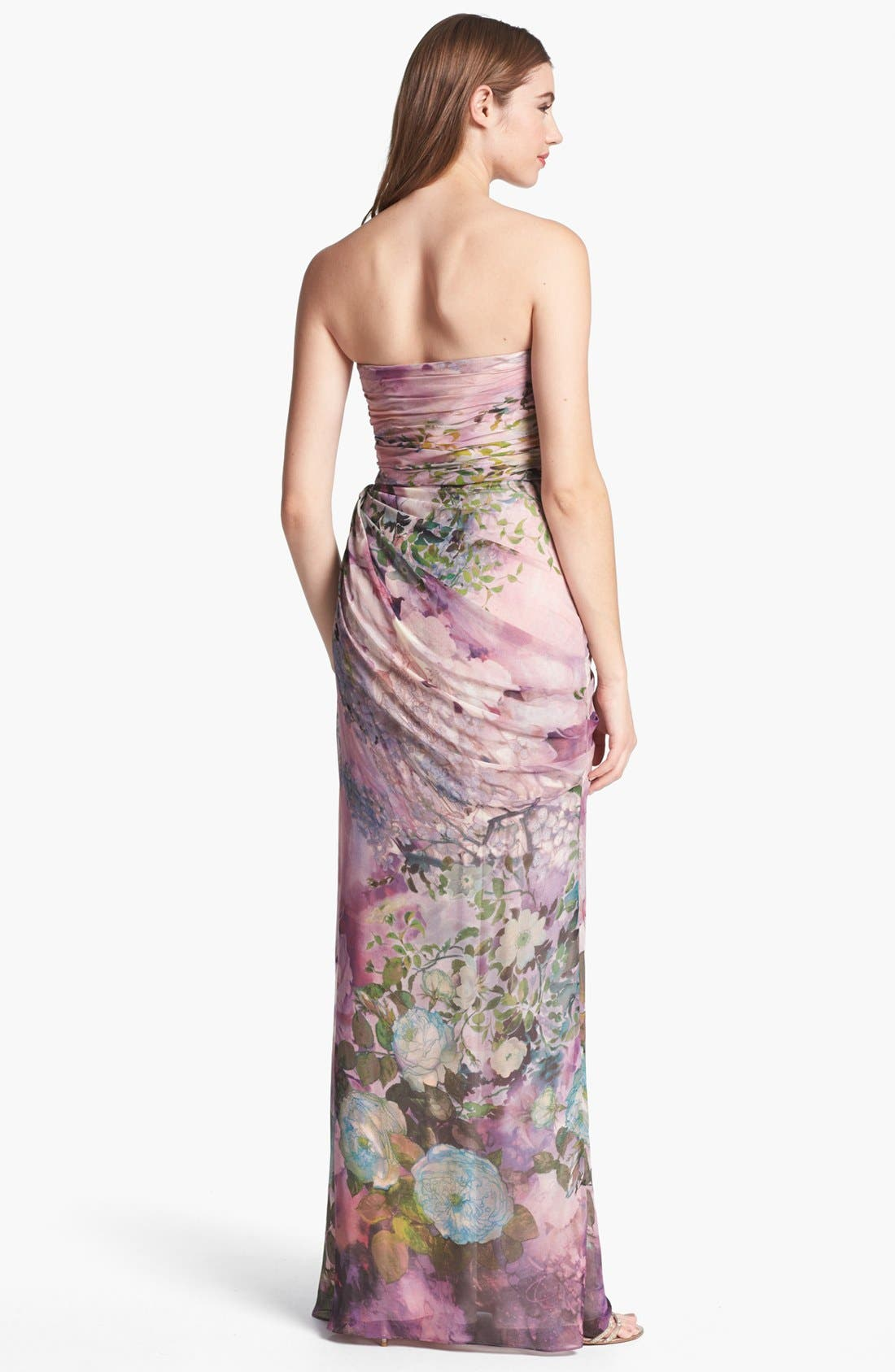 Alternate Image 2  - Adrianna Papell Print Strapless Chiffon Gown