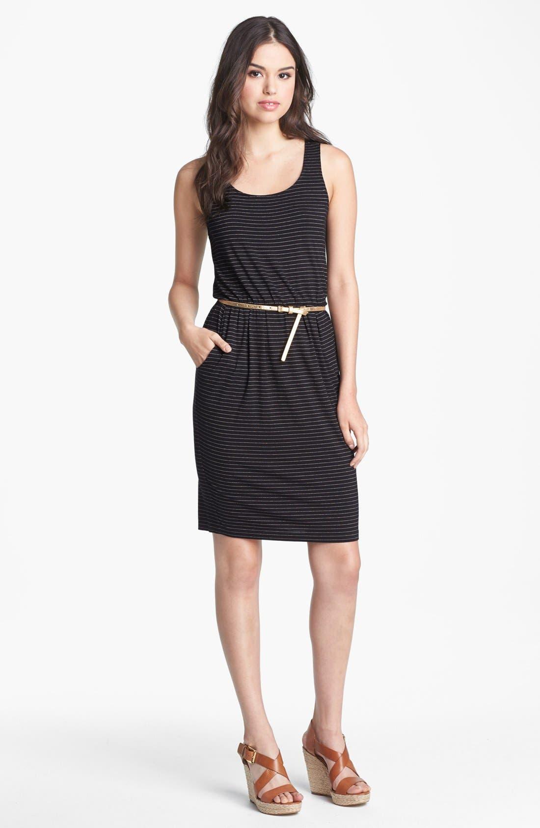 Alternate Image 1 Selected - Calvin Klein Metallic Stripe Knit Dress
