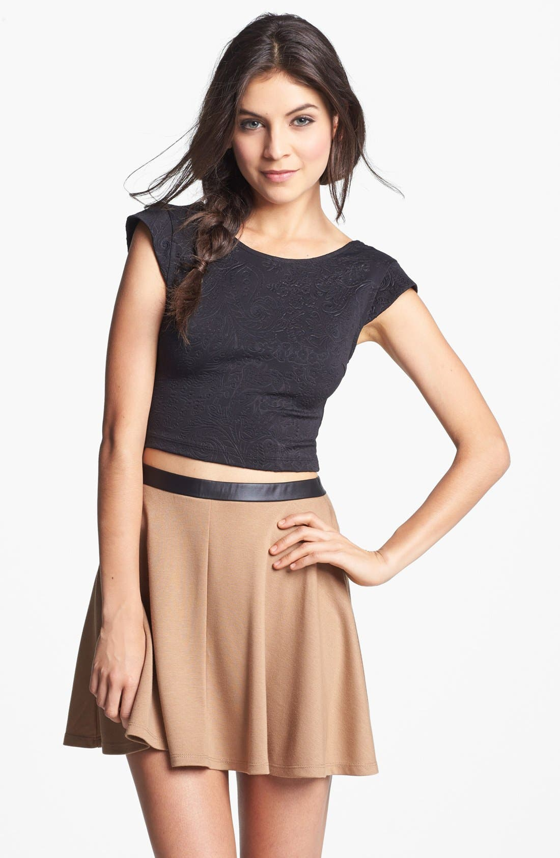 Main Image - Mimi Chica Faux Leather Trim High Waist Skater Skirt (Juniors) (Online Only)