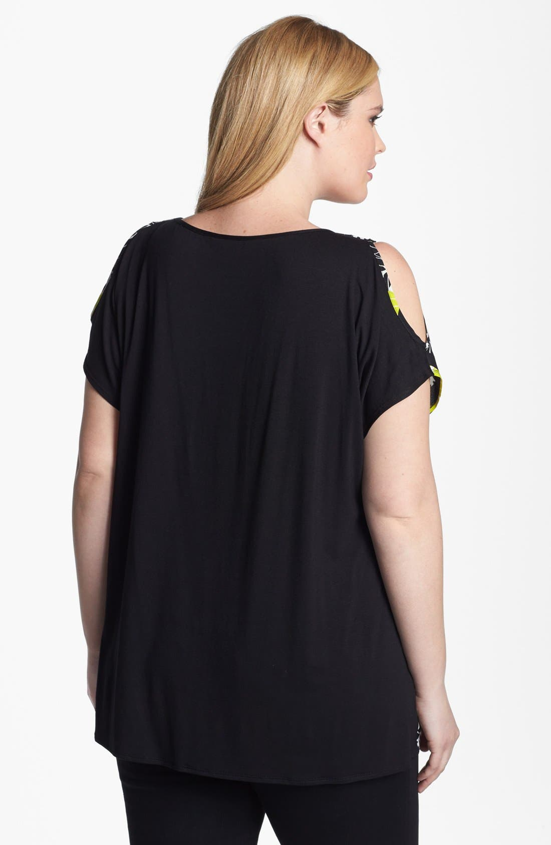 Alternate Image 2  - Evans Mixed Media Cold Shoulder Top (Plus Size)