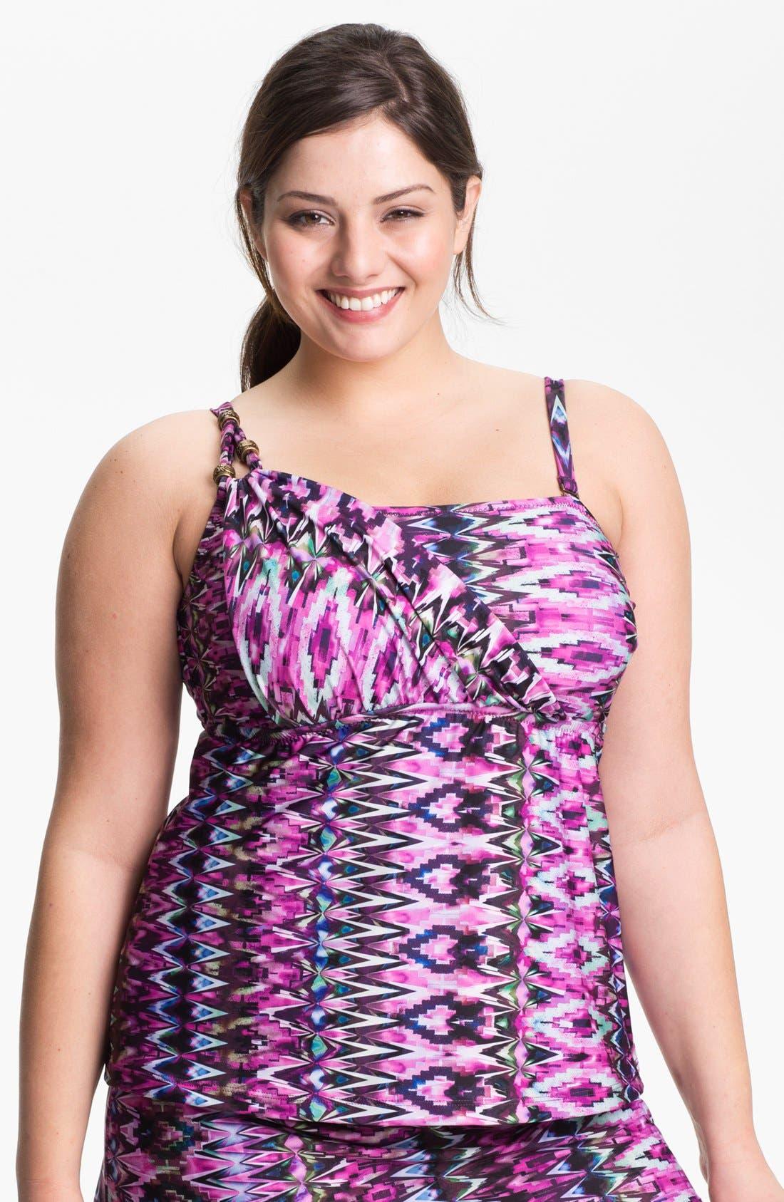 Main Image - Becca Etc. 'Zanzibar' Tankini Top (Plus Size)