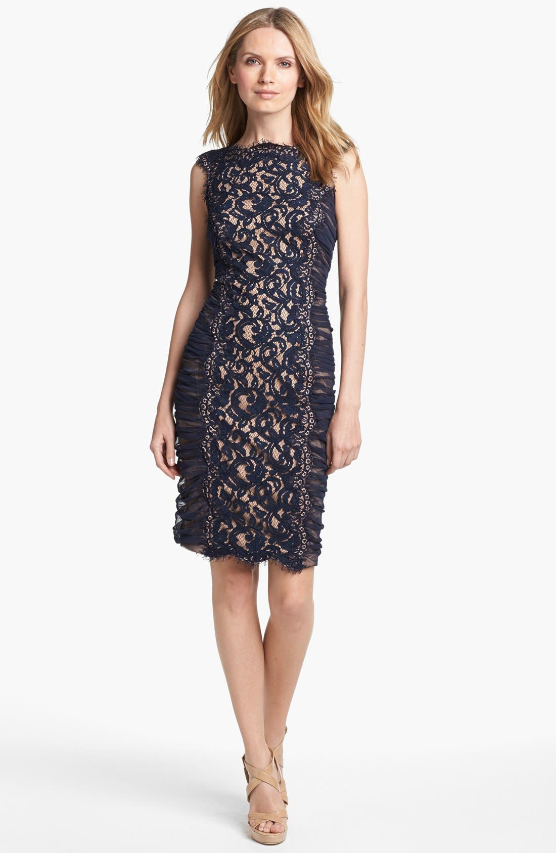 Alternate Image 1 Selected - Tadashi Shoji Side Ruched Lace Sheath Dress