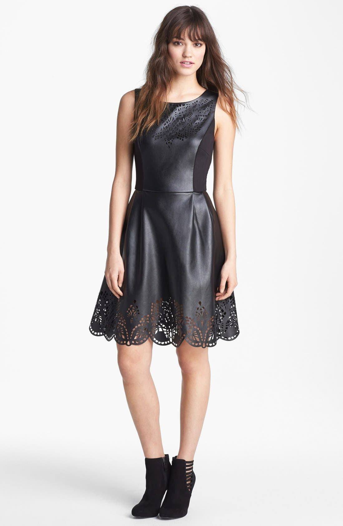 Alternate Image 4  - Betsey Johnson Laser Cut Faux Leather Fit & Flare Dress (Online Only)