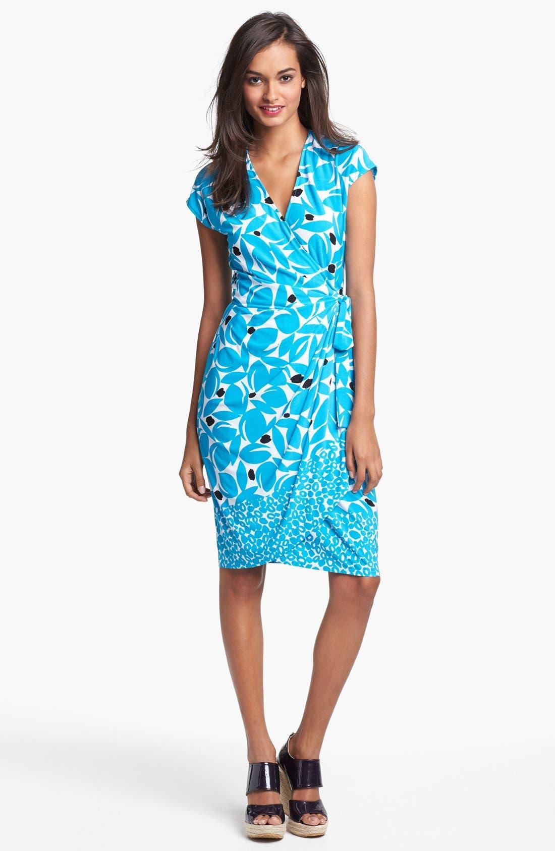 Main Image - Maggy London Print Cap Sleeve Jersey Wrap Dress