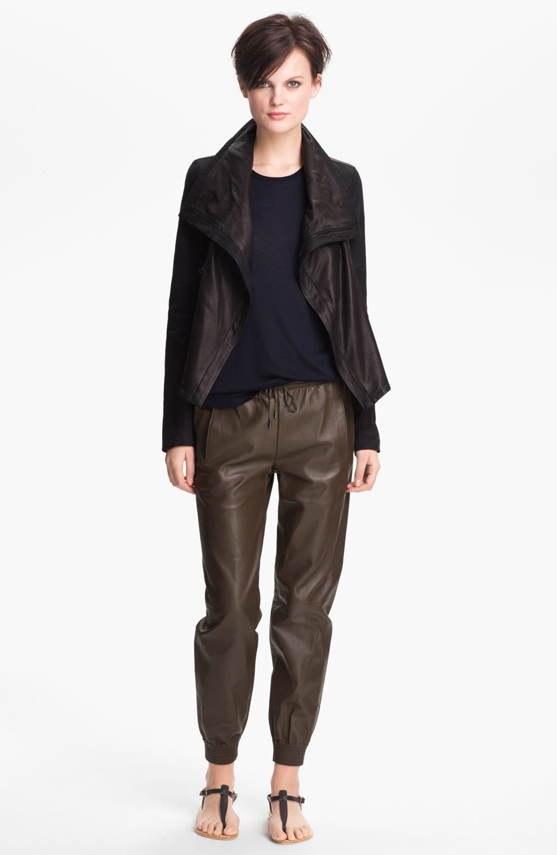 Main Image - Vince Linen Blend & Leather Jacket