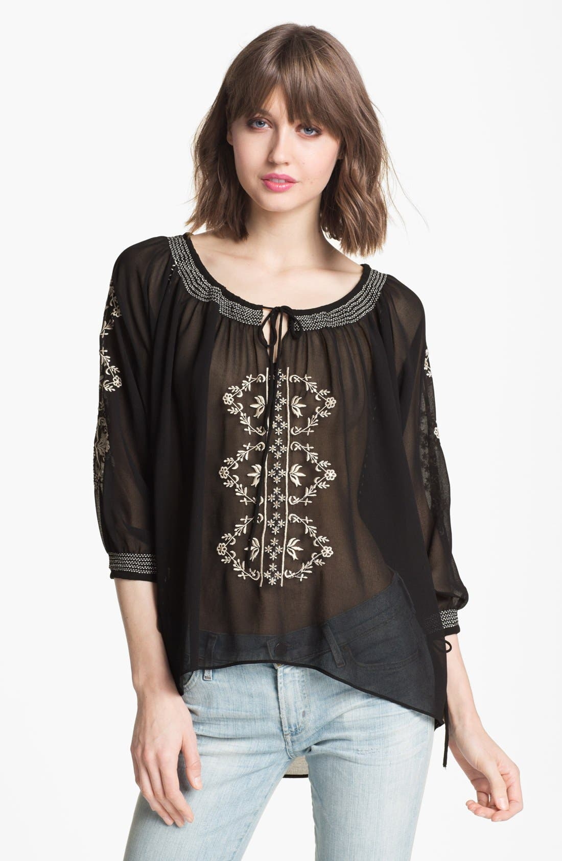 Main Image - Willow & Clay Embroidered Chiffon Peasant Top