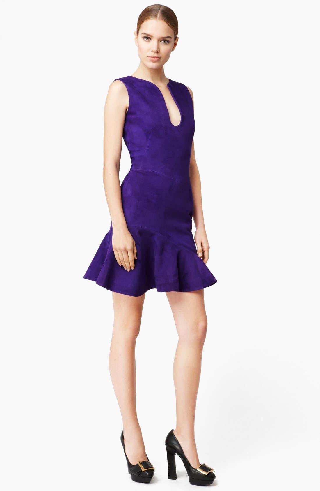 Alternate Image 1 Selected - Alexander McQueen Flounce Suede Dress