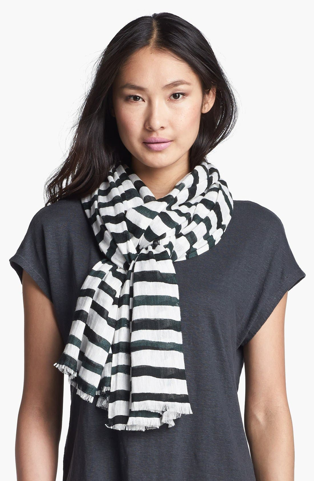 Main Image - Eileen Fisher Stripe Linen Twill Scarf