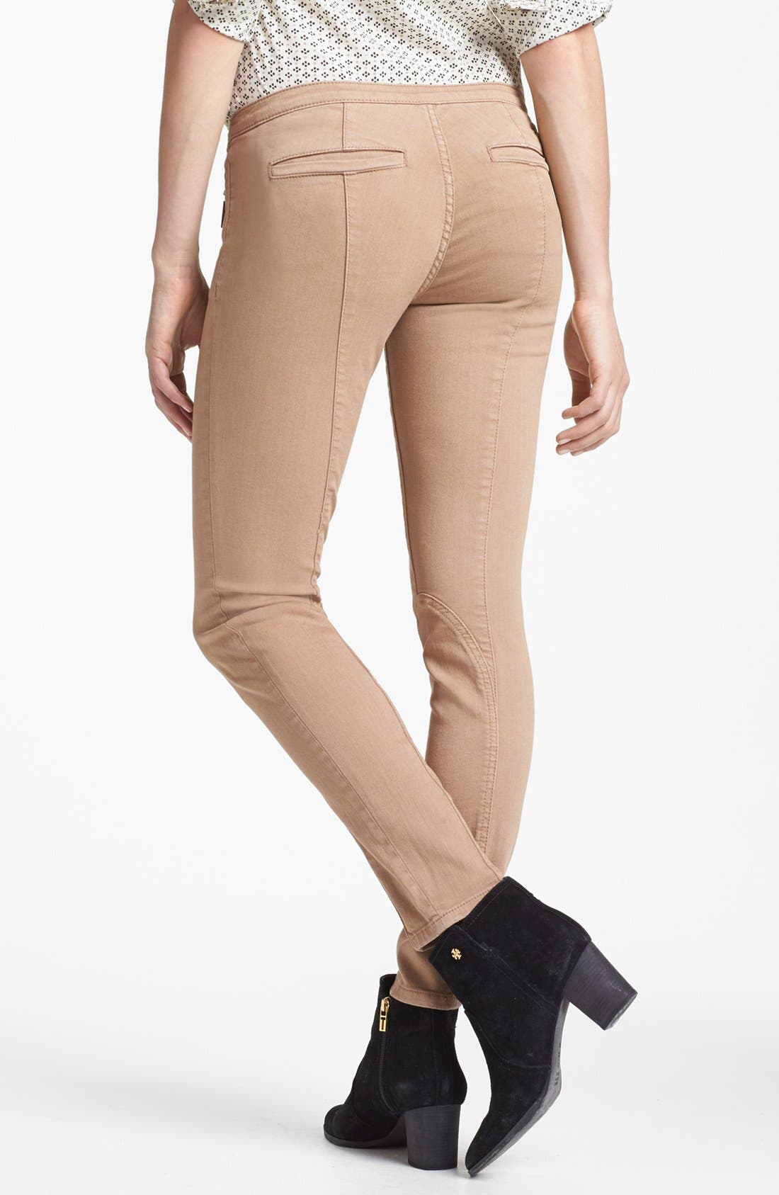 Alternate Image 2  - Tory Burch 'Ellie' Colored Skinny Stretch Jeans (Almond)