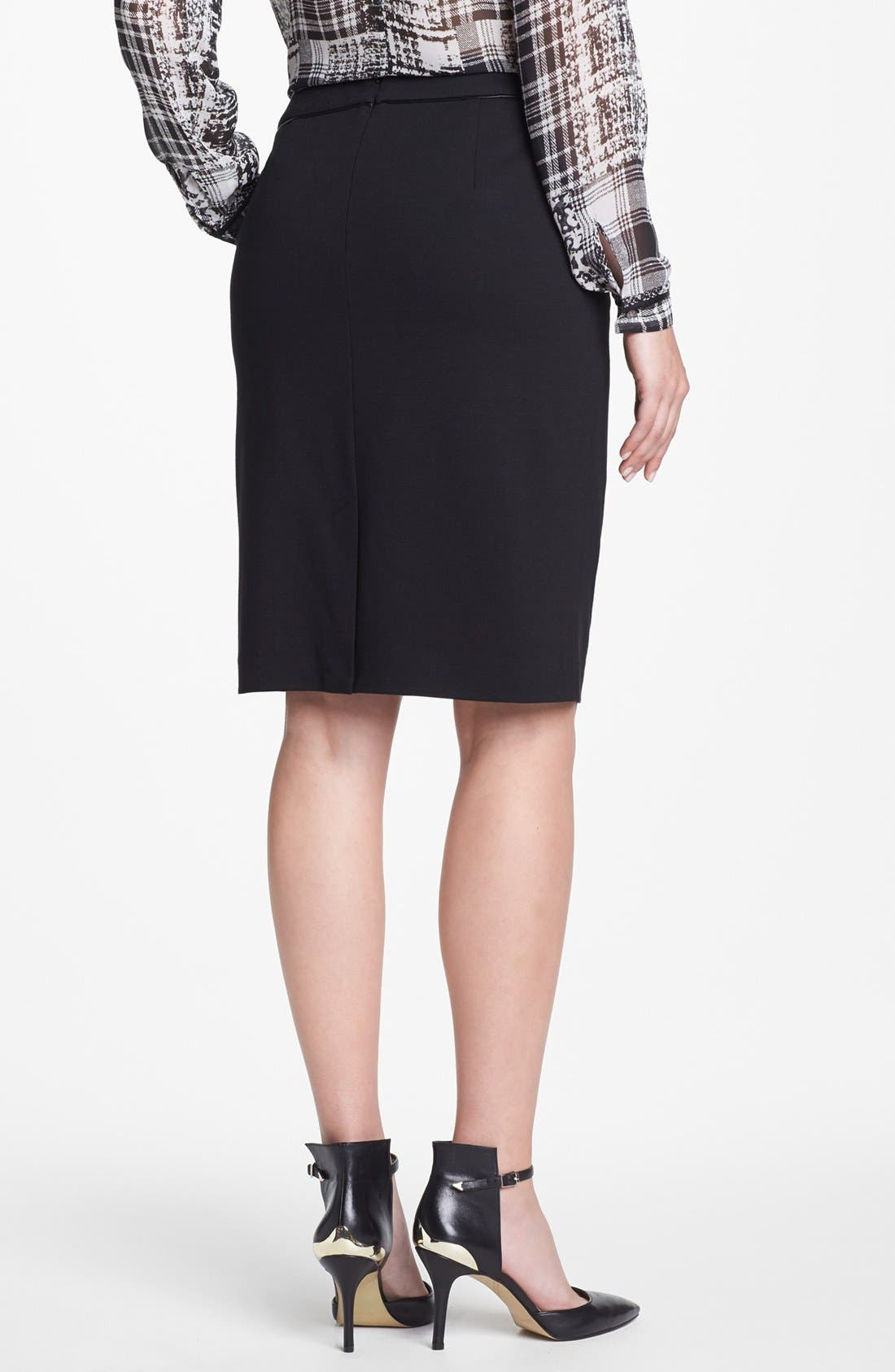 Alternate Image 2  - Vince Camuto Faux Leather Trim Pencil Skirt (Nordstrom Exclusive)