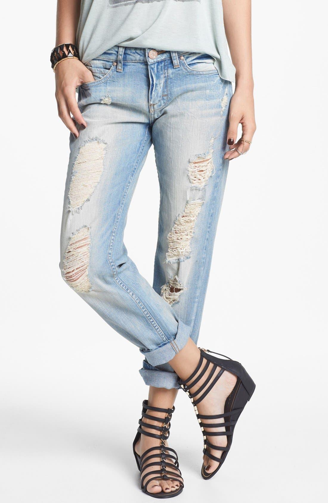 Alternate Image 1 Selected - STS Blue Destroyed Boyfriend Crop Jeans (Light) (Juniors)