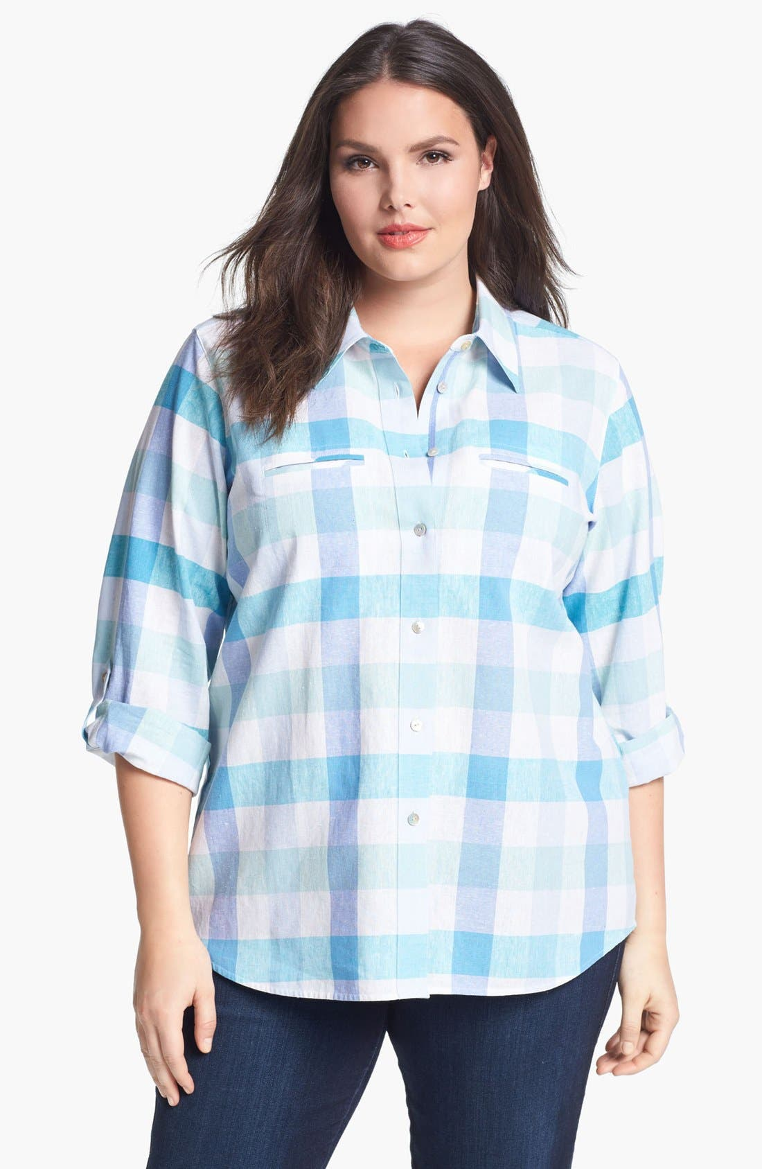 Alternate Image 1 Selected - Foxcroft Gingham Shirt (Plus Size)