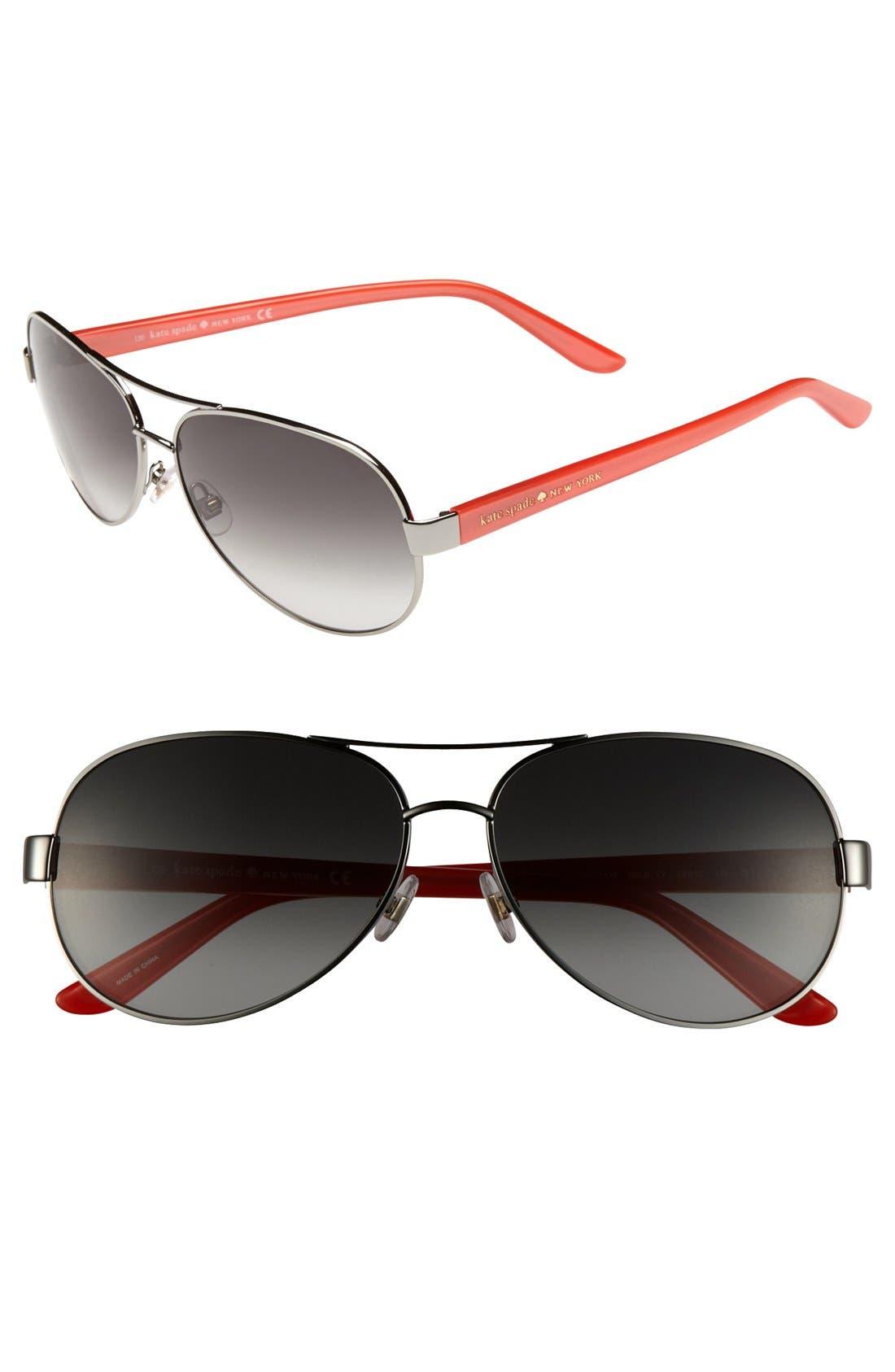 Main Image - kate spade new york 'donats' 58mm metal aviator sunglasses