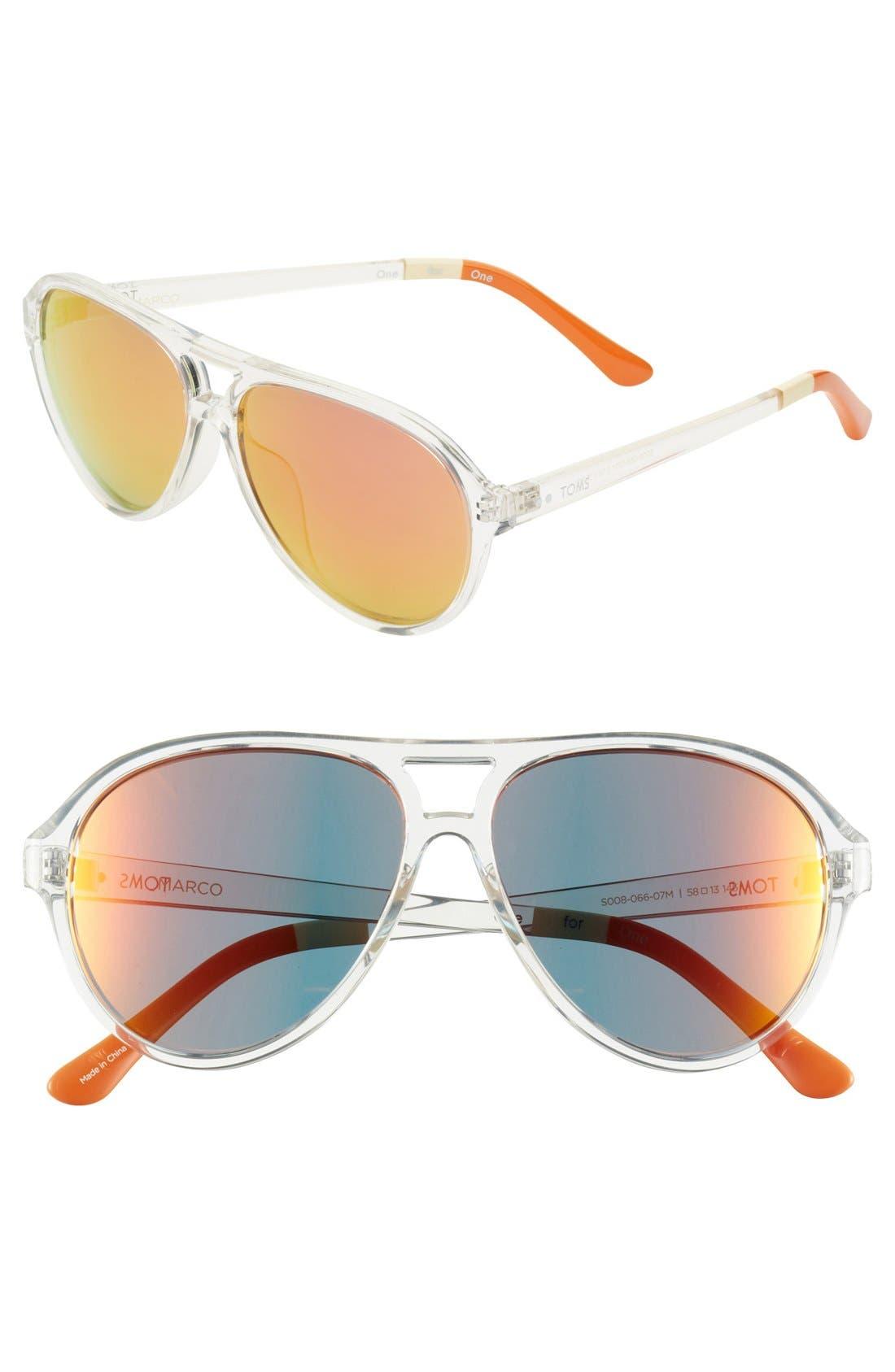 Main Image - TOMS 'Marco' 58mm Aviator Sunglasses