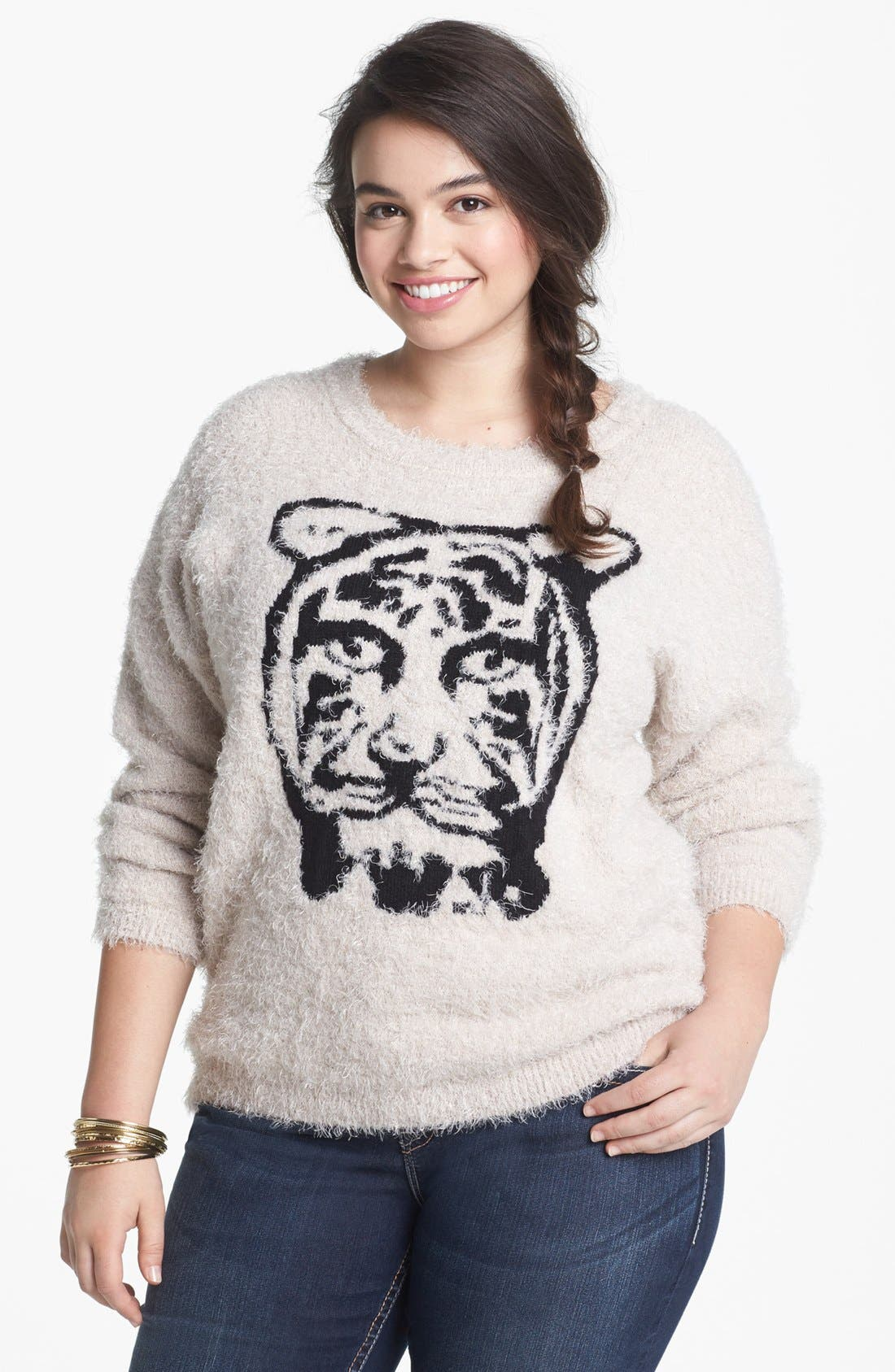 Main Image - Love By Design Tiger Eyelash Sweater (Juniors Plus)